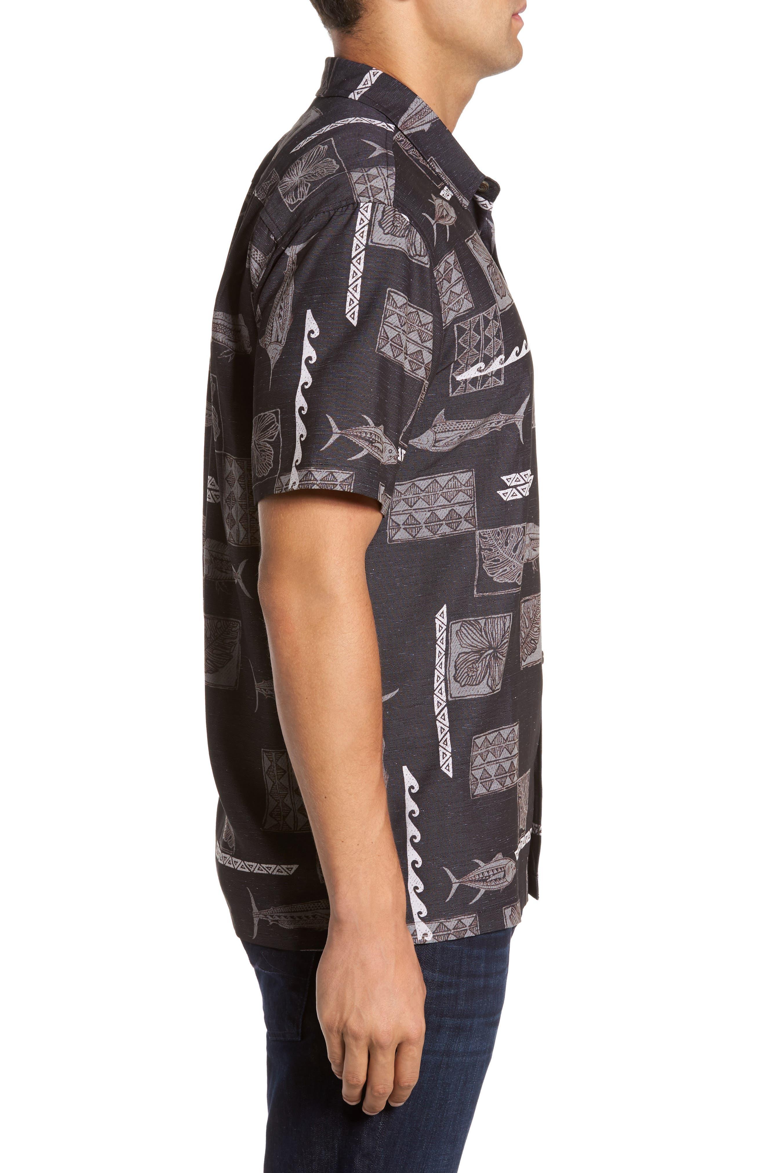 Kua Bay Print Sport Shirt,                             Alternate thumbnail 3, color,                             Black