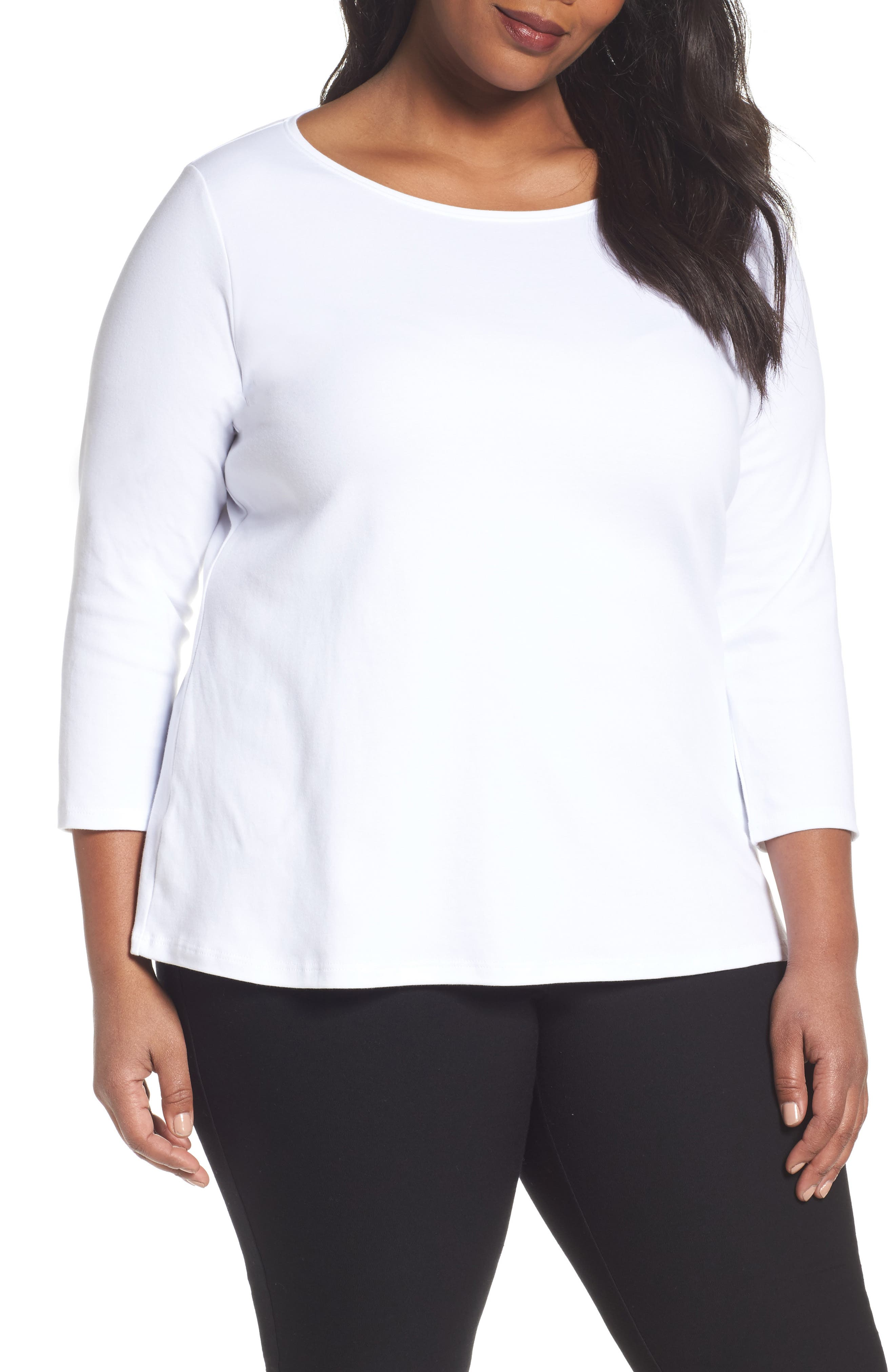 Alternate Image 1 Selected - Eileen Fisher Organic Cotton Ballet Neck Top (Plus Size)