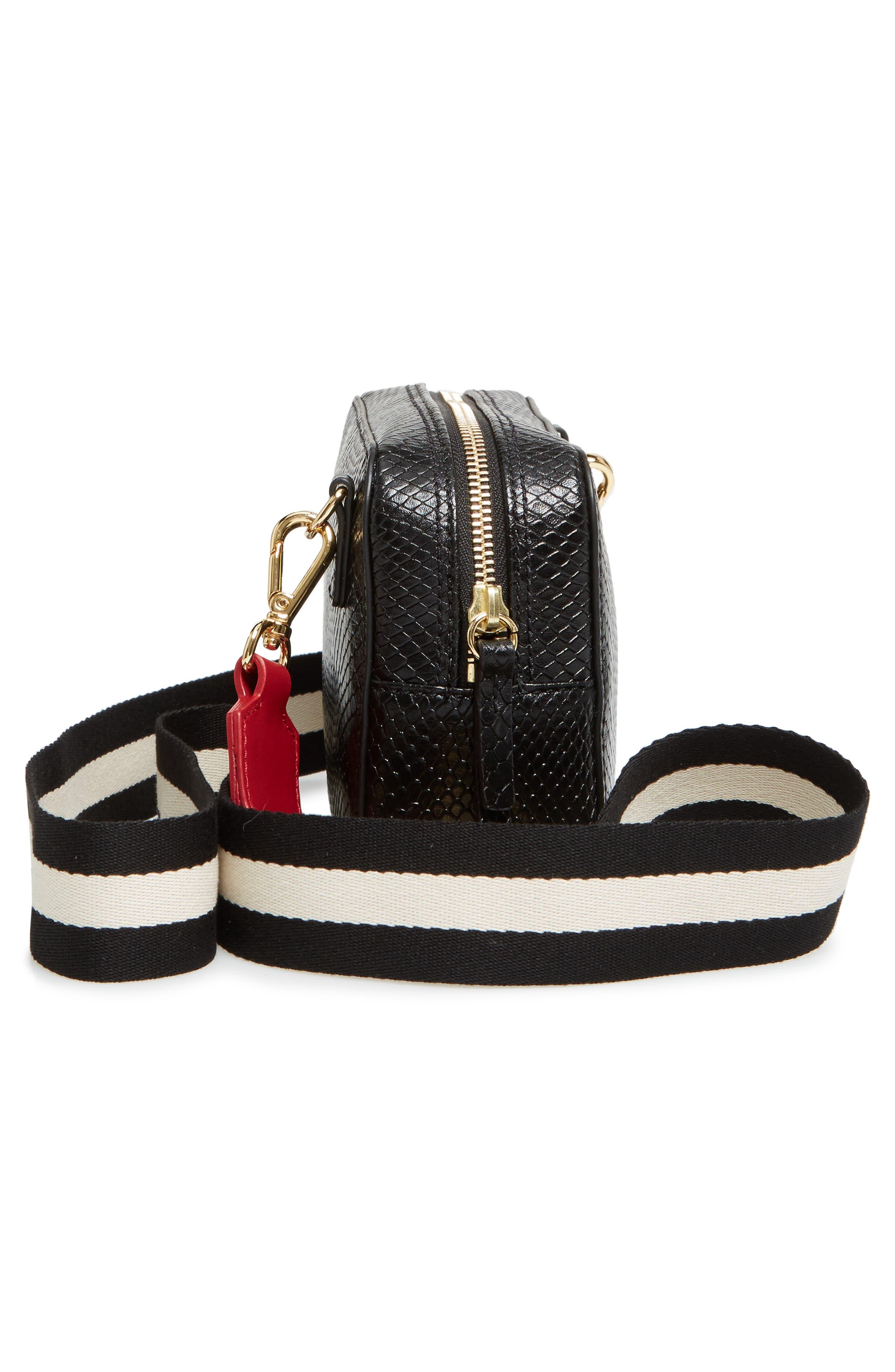 Snakeskin Embossed Leather Crossbody Bag,                             Alternate thumbnail 4, color,                             Black