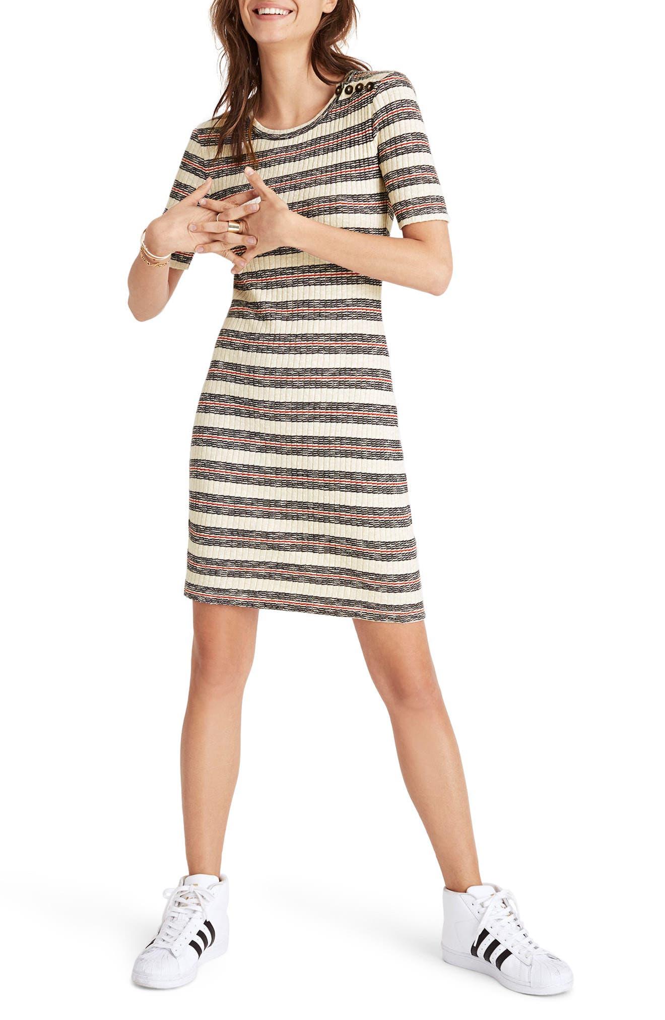 Madewell Stripe Rib Knit Minidress