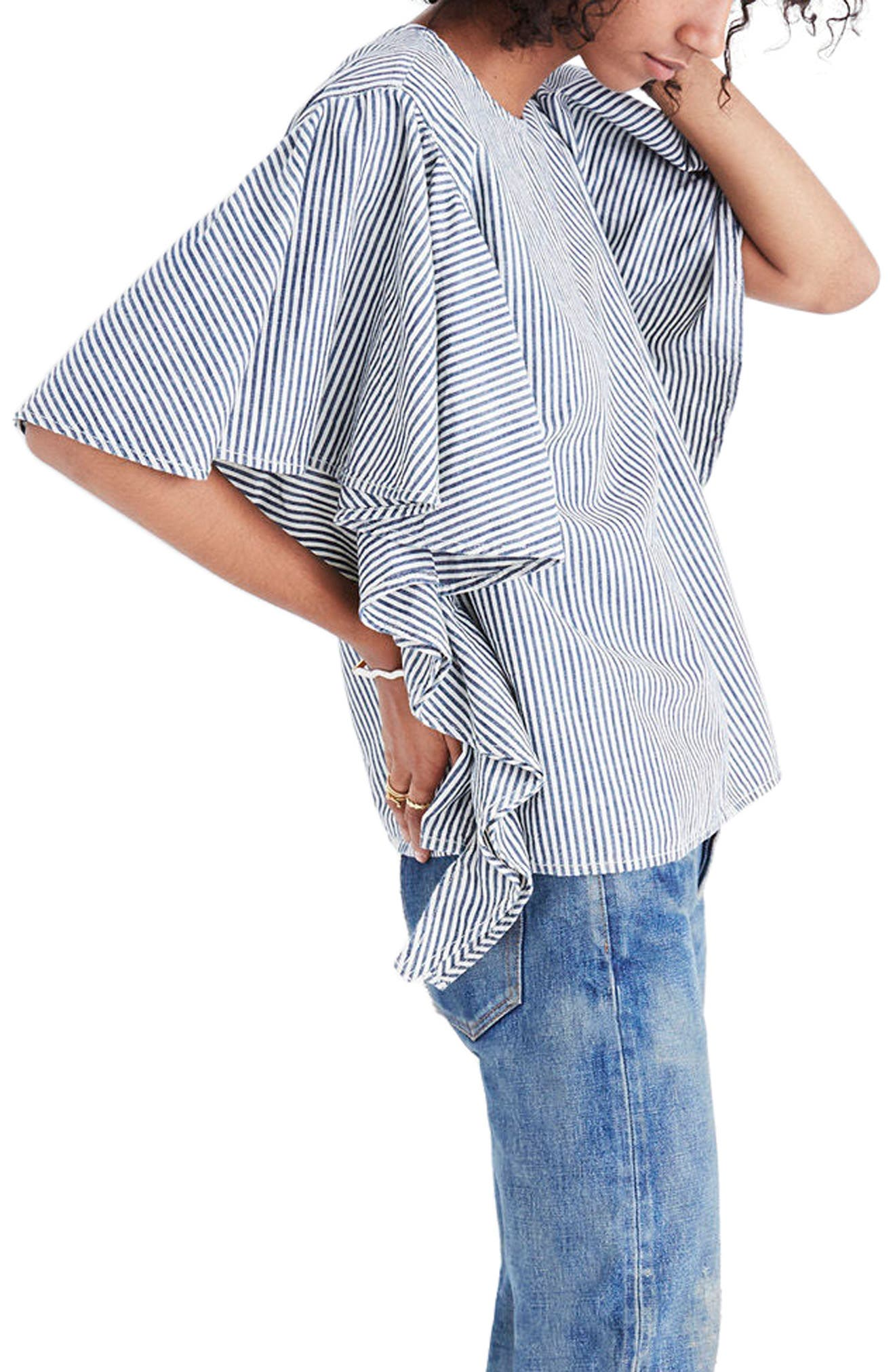 Stripe Butterfly Sleeve Top,                             Alternate thumbnail 3, color,                             Chambray Stripe
