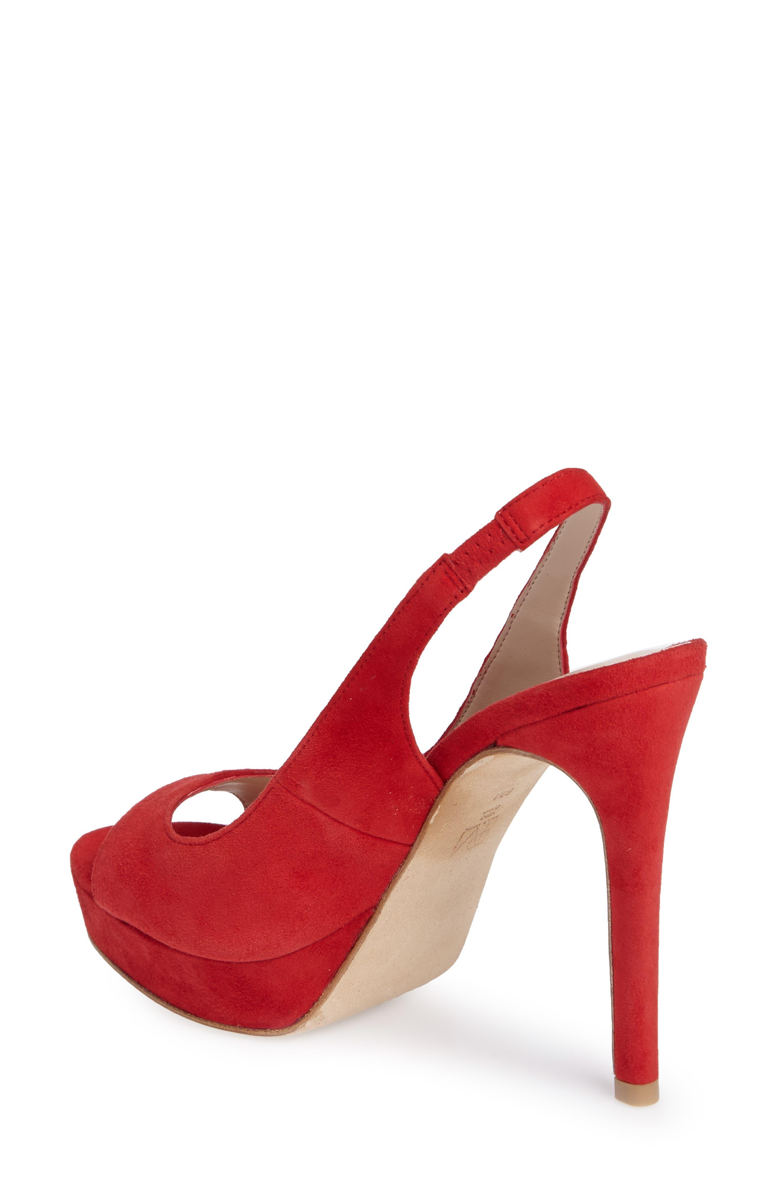 Oana Slingback Platform Sandal,                             Alternate thumbnail 2, color,                             Lipstick Suede