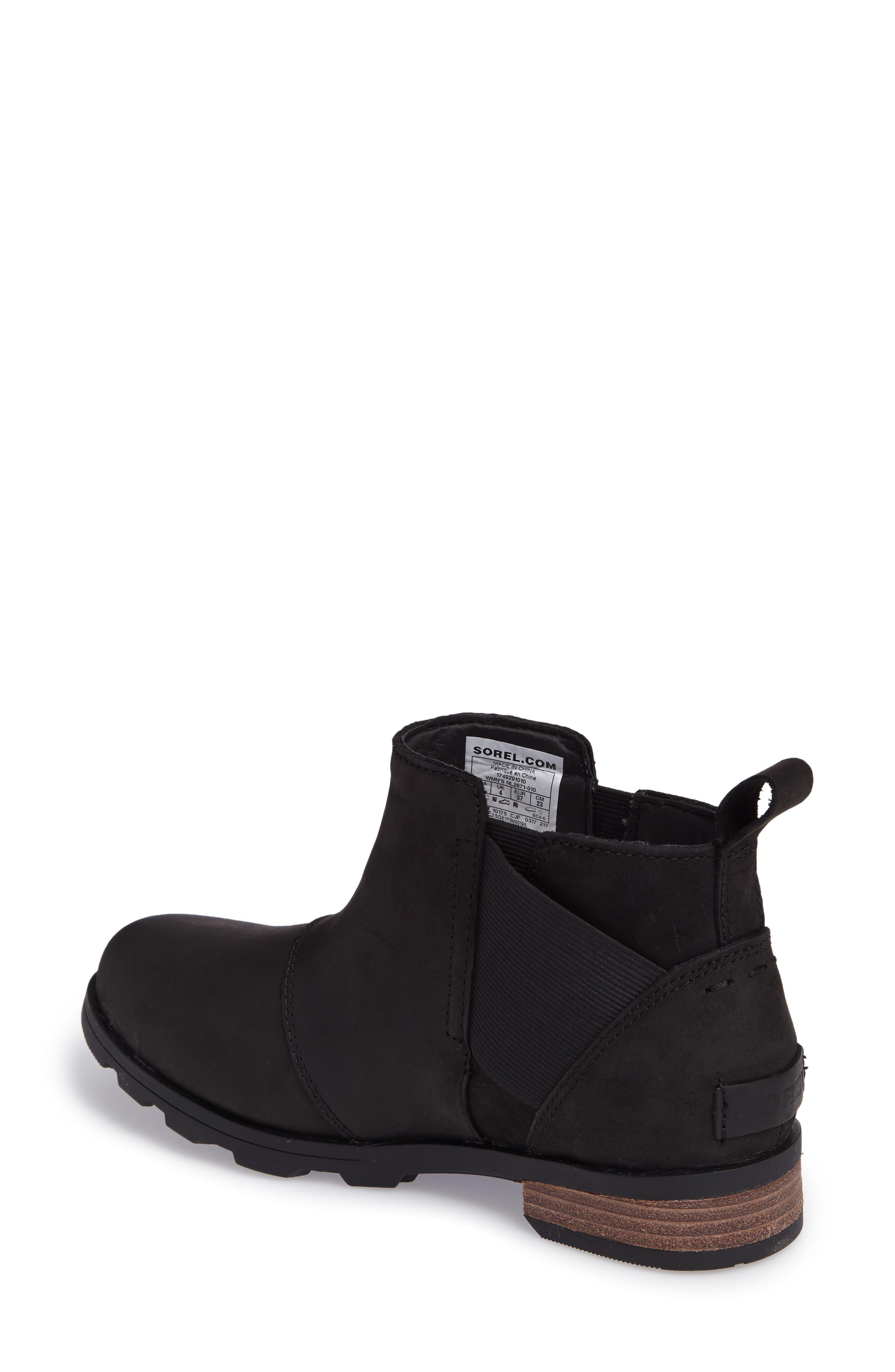 Emelie Waterproof Chelsea Boot,                             Alternate thumbnail 2, color,                             Black/ Black