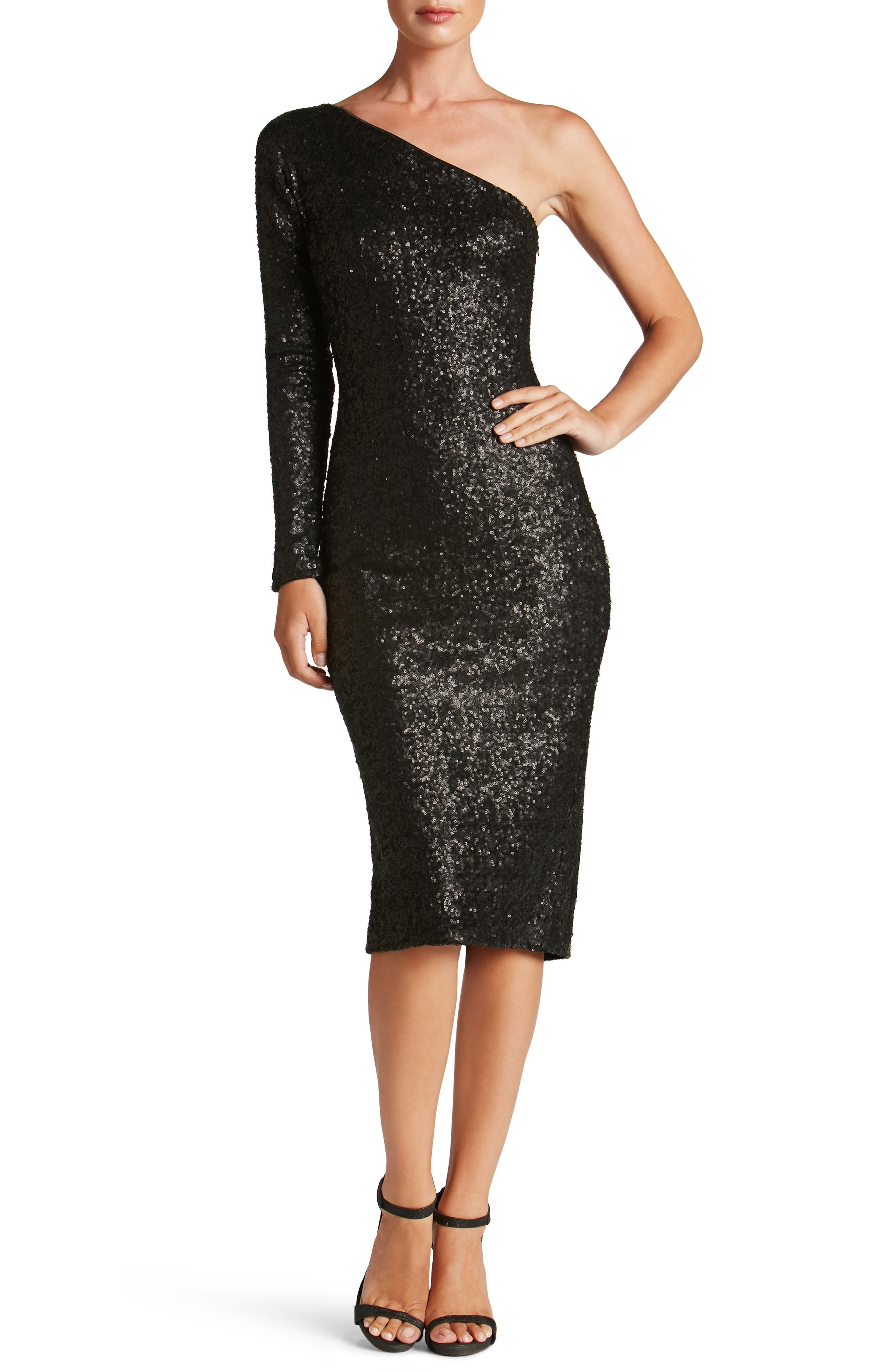 Chrissie Sequin One-Shoulder Dress,                         Main,                         color, Matte Black