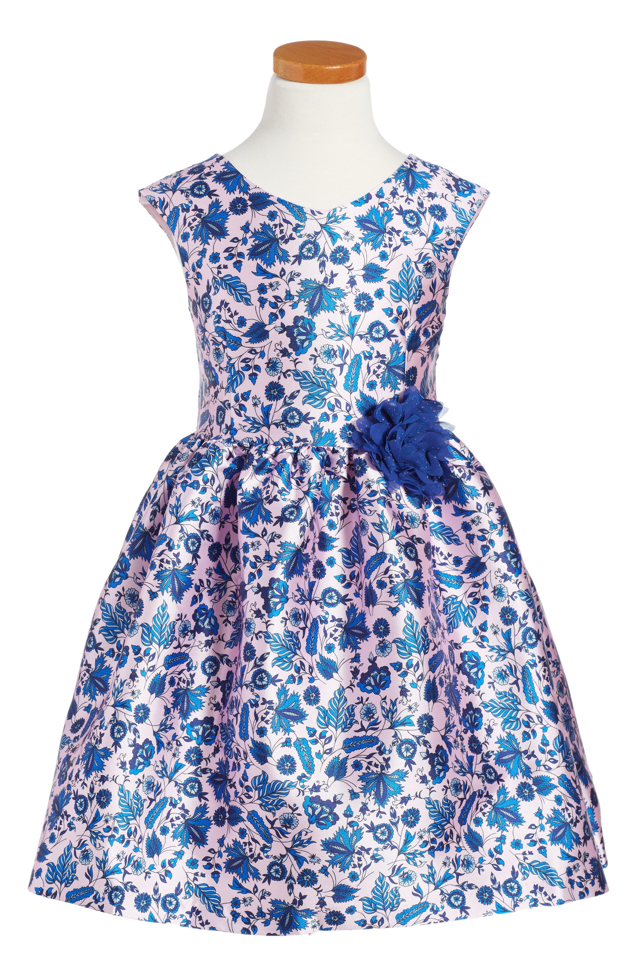 Print Fit & Flare Dress,                             Main thumbnail 1, color,                             Pink/ Blue