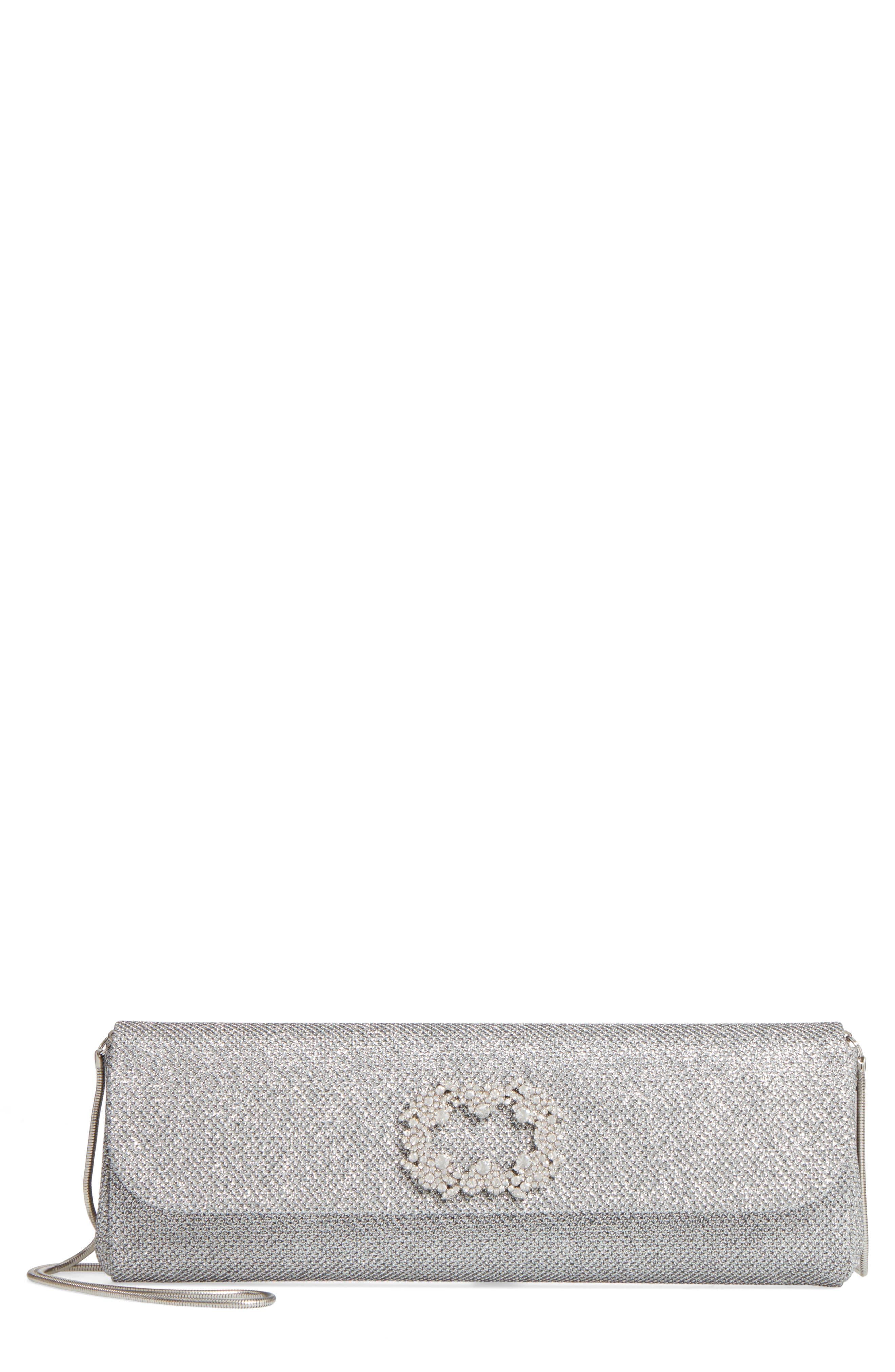 Delicate Mesh Clutch,                         Main,                         color, Silver