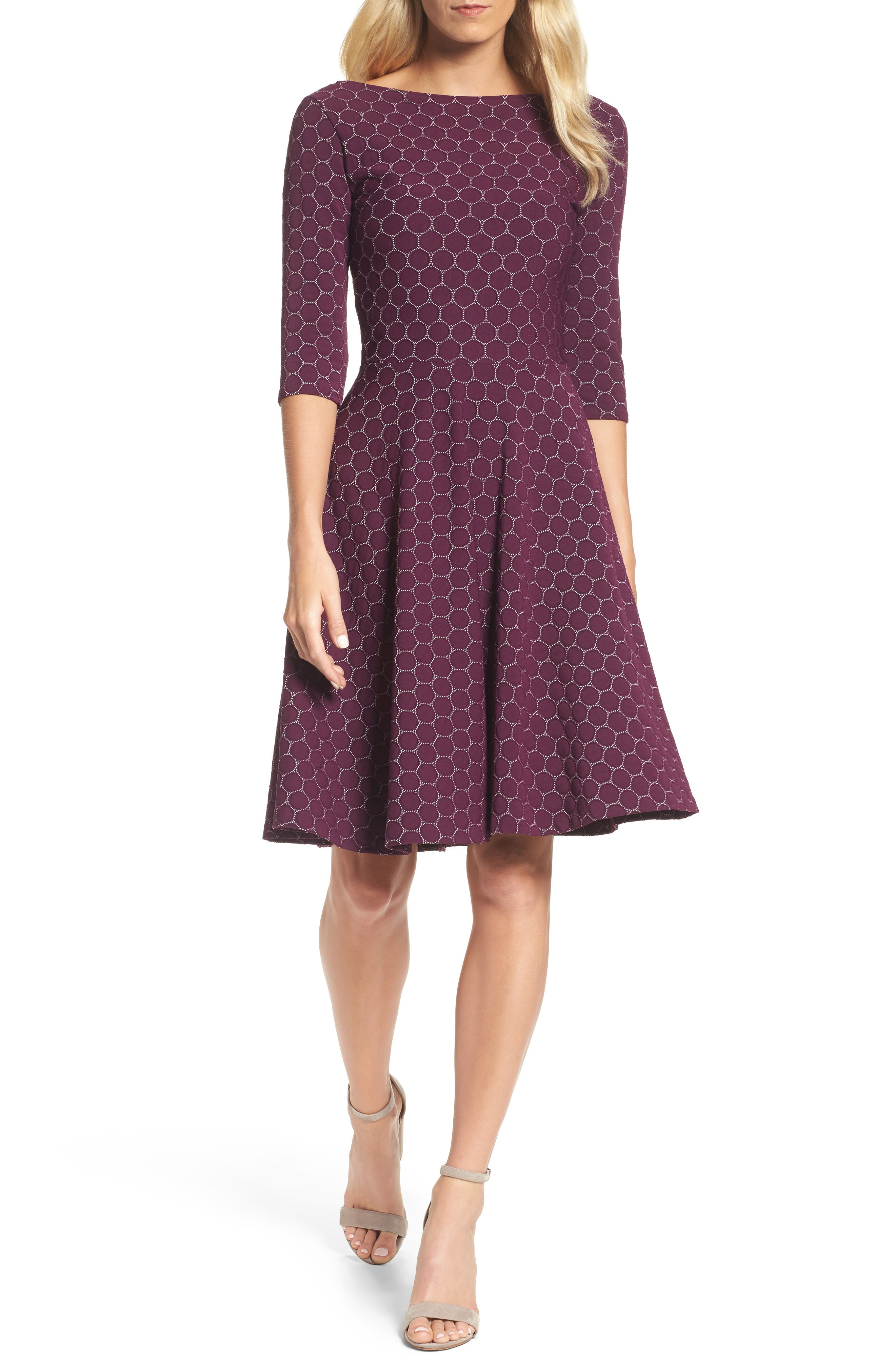 Circle Knit Fit & Flare Dress,                         Main,                         color, Purple