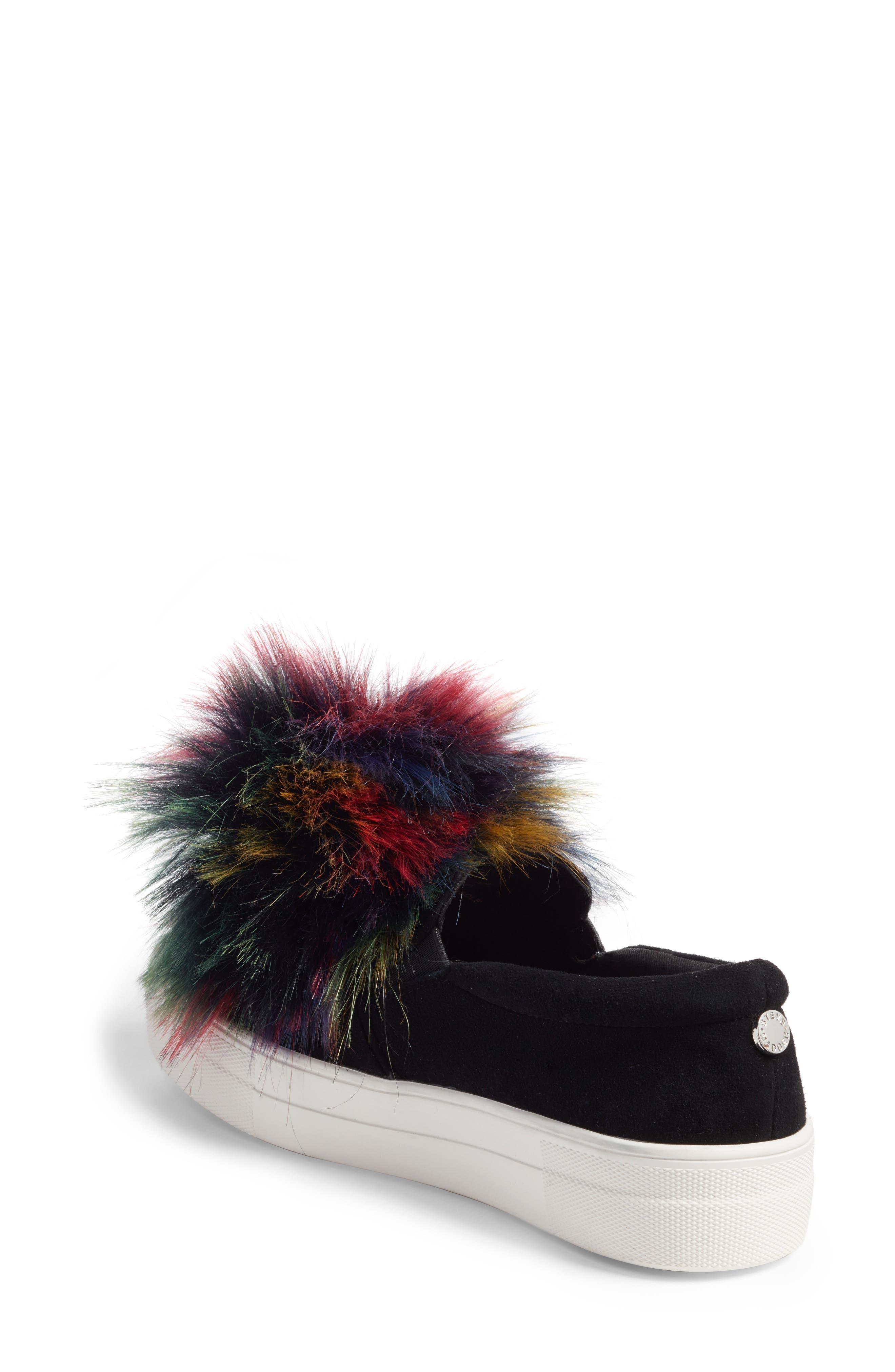 Great Faux Fur Pom Platform Sneaker,                             Alternate thumbnail 2, color,                             Black Multi