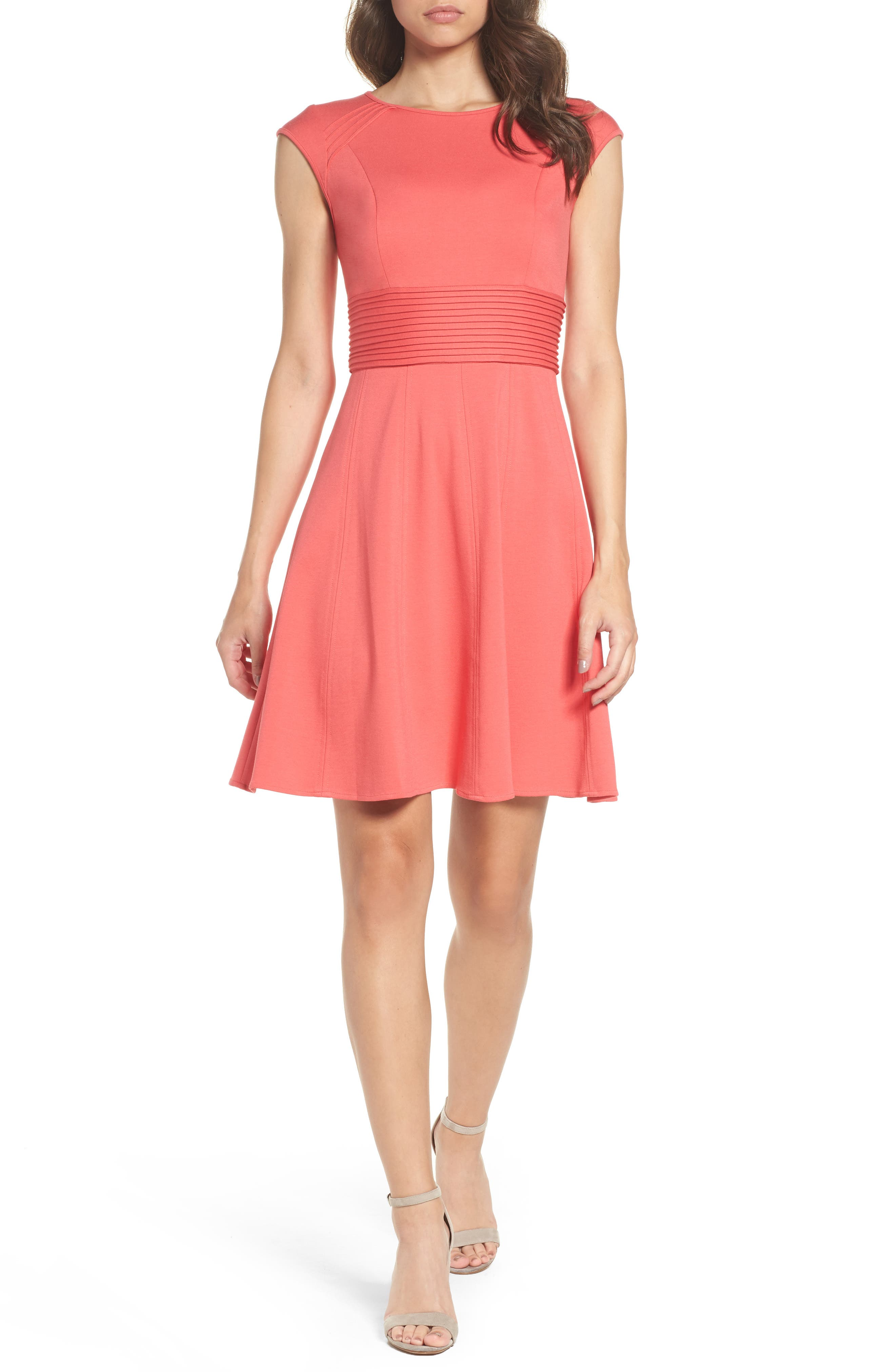 Main Image - Eliza J Pintucked Waist Seamed Ponte Knit Fit & Flare Dress