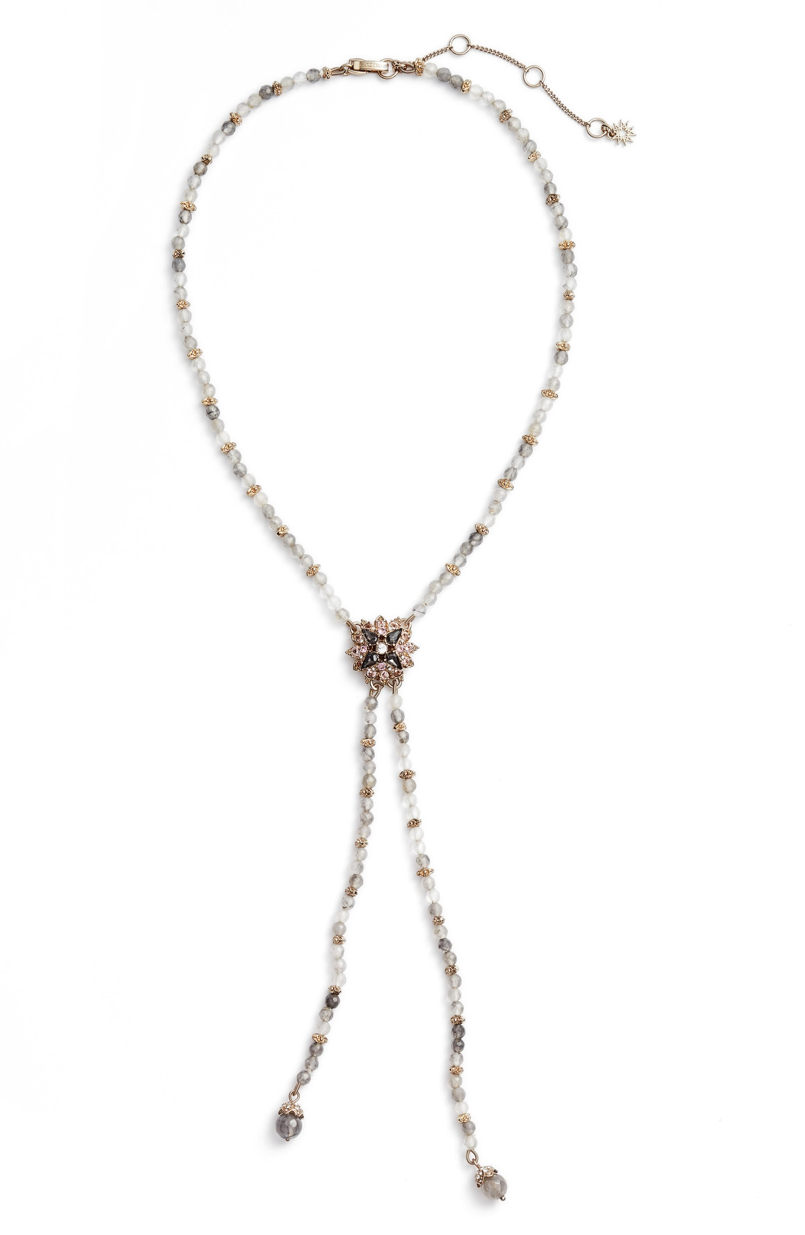 Crystal Y-Necklace,                             Main thumbnail 1, color,                             Gold/ Grey Multi