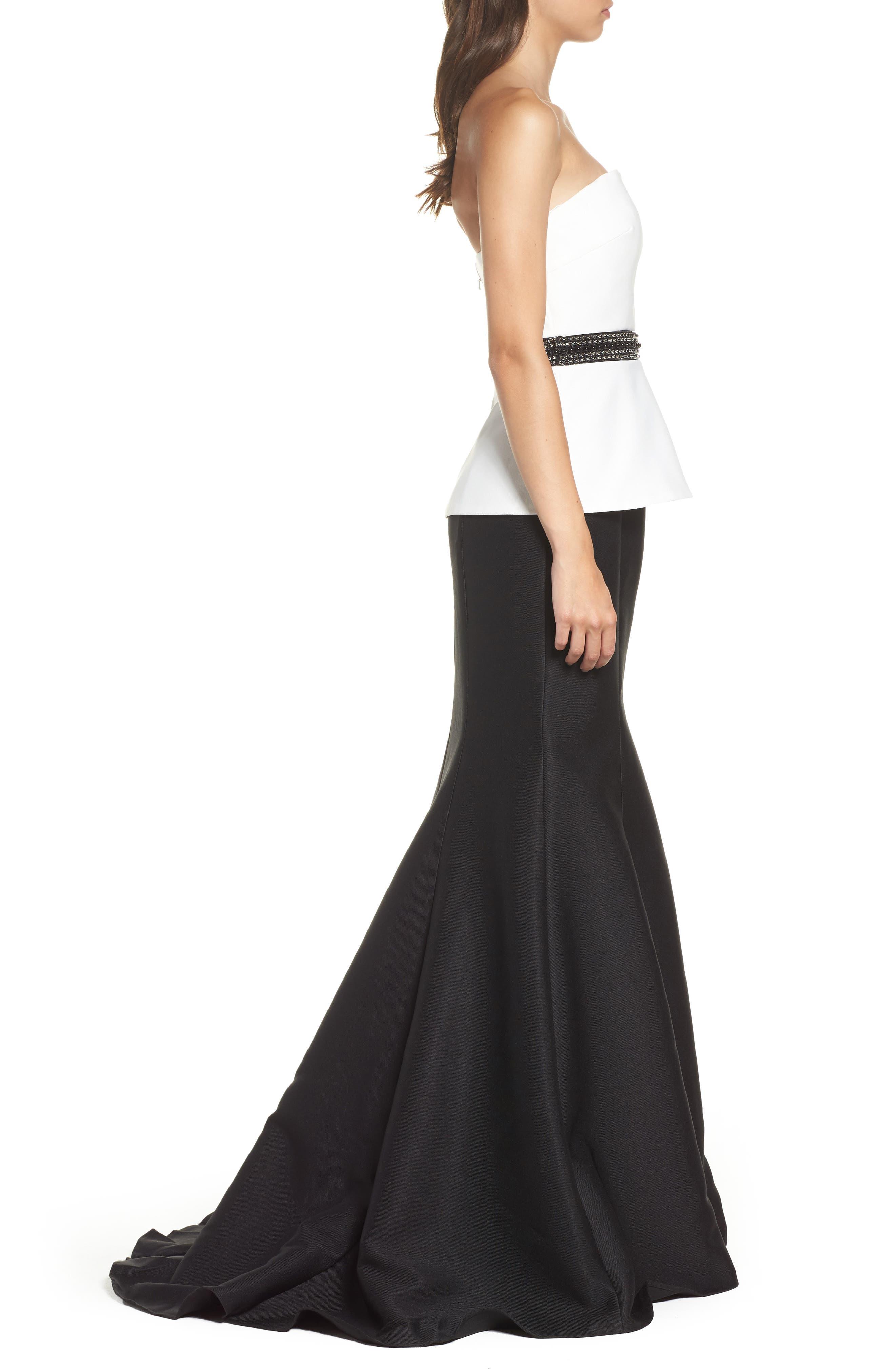 Color Block Strapless Mermaid Gown,                             Alternate thumbnail 3, color,                             Black/ White