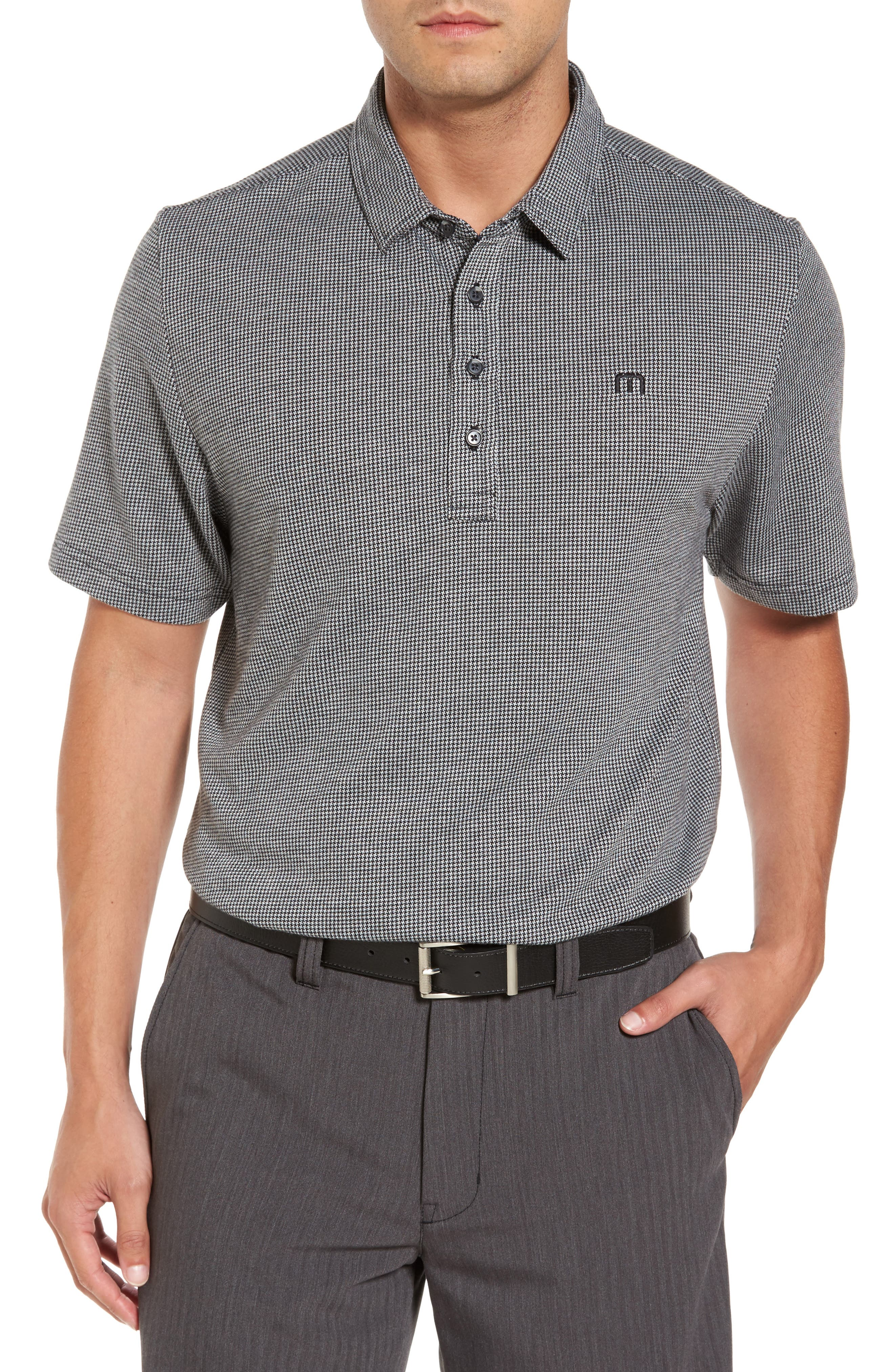 Lawrence Houndstooth Polo,                         Main,                         color, Black/ Microchip