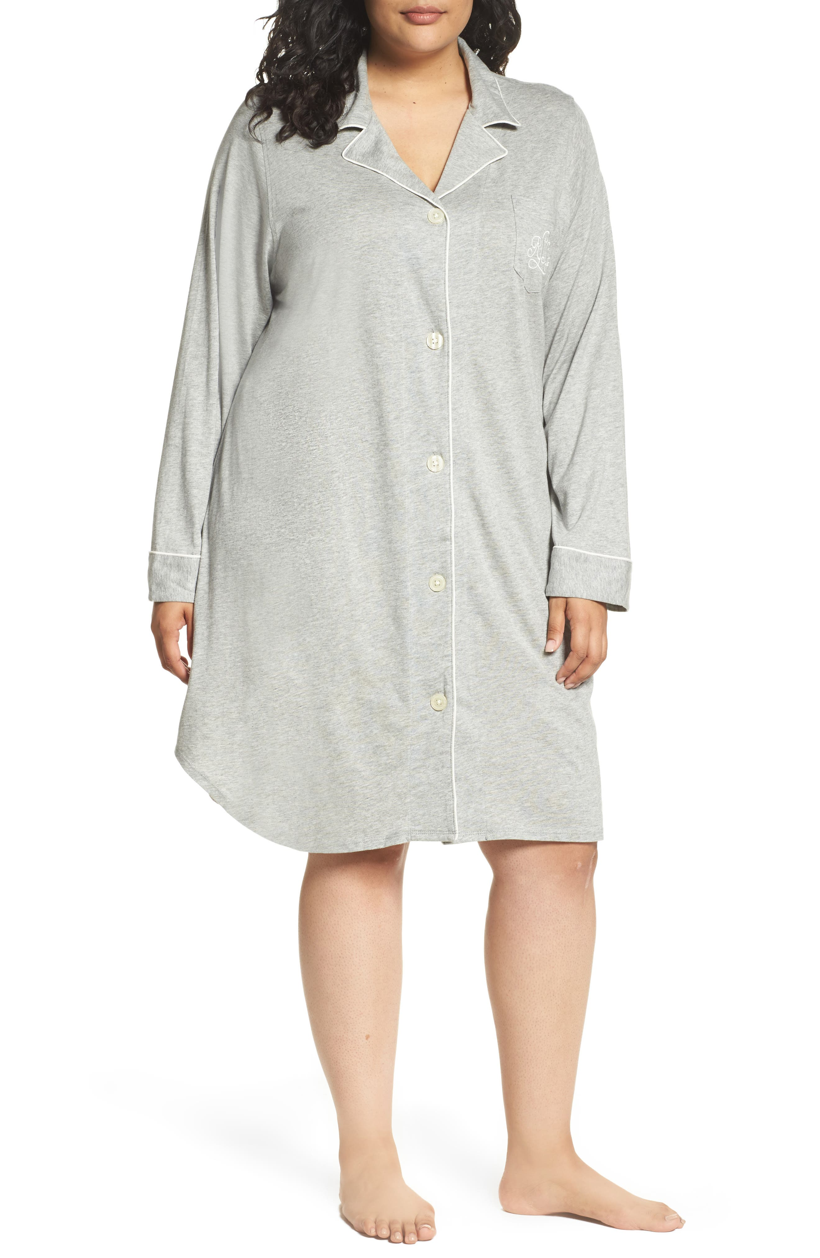 Alternate Image 1 Selected - Lauren Ralph Lauren Knit Nightshirt (Plus Size) (Online Only)