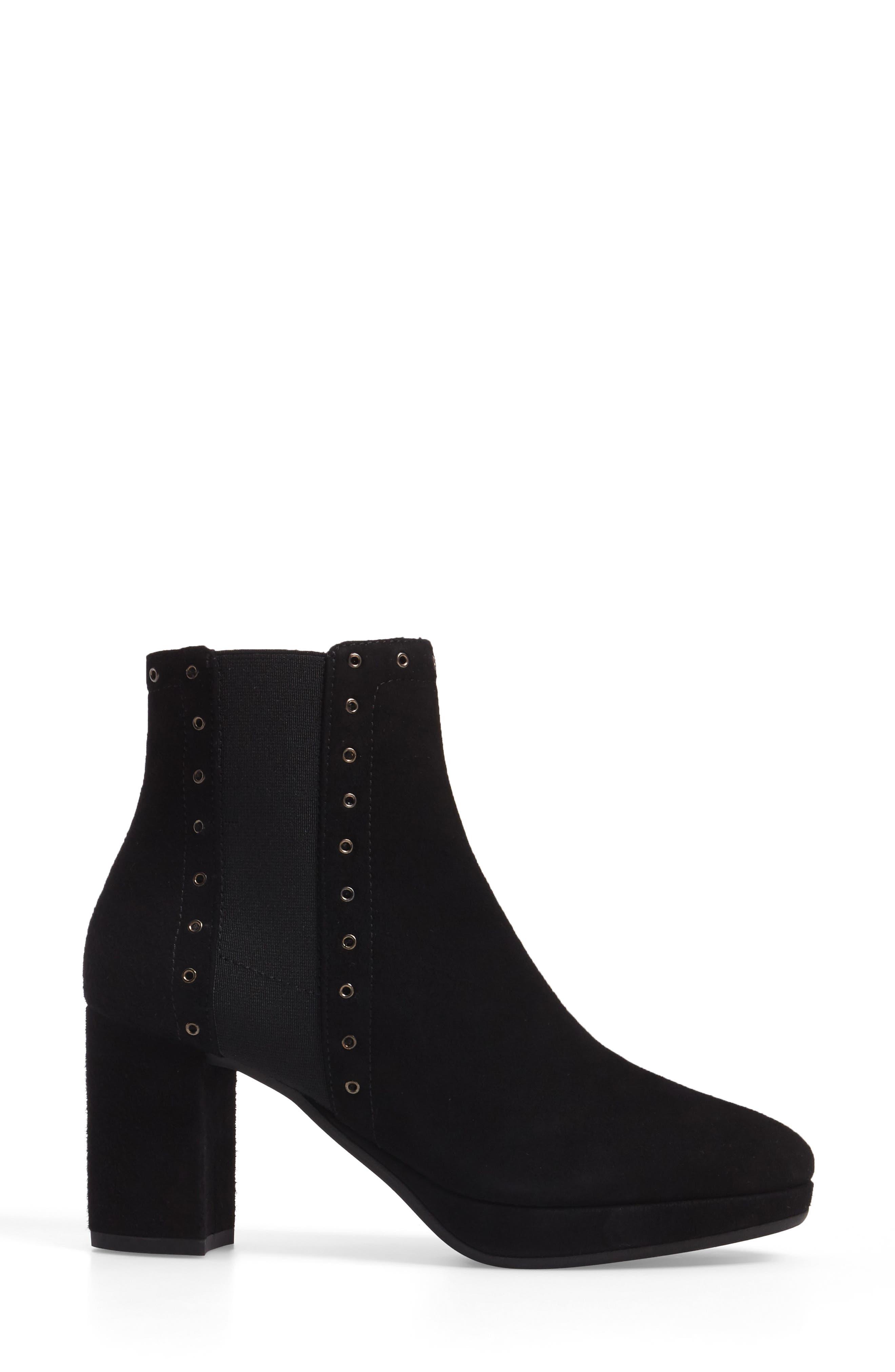 Platform Chelsea Boot,                             Alternate thumbnail 3, color,                             Black Suede