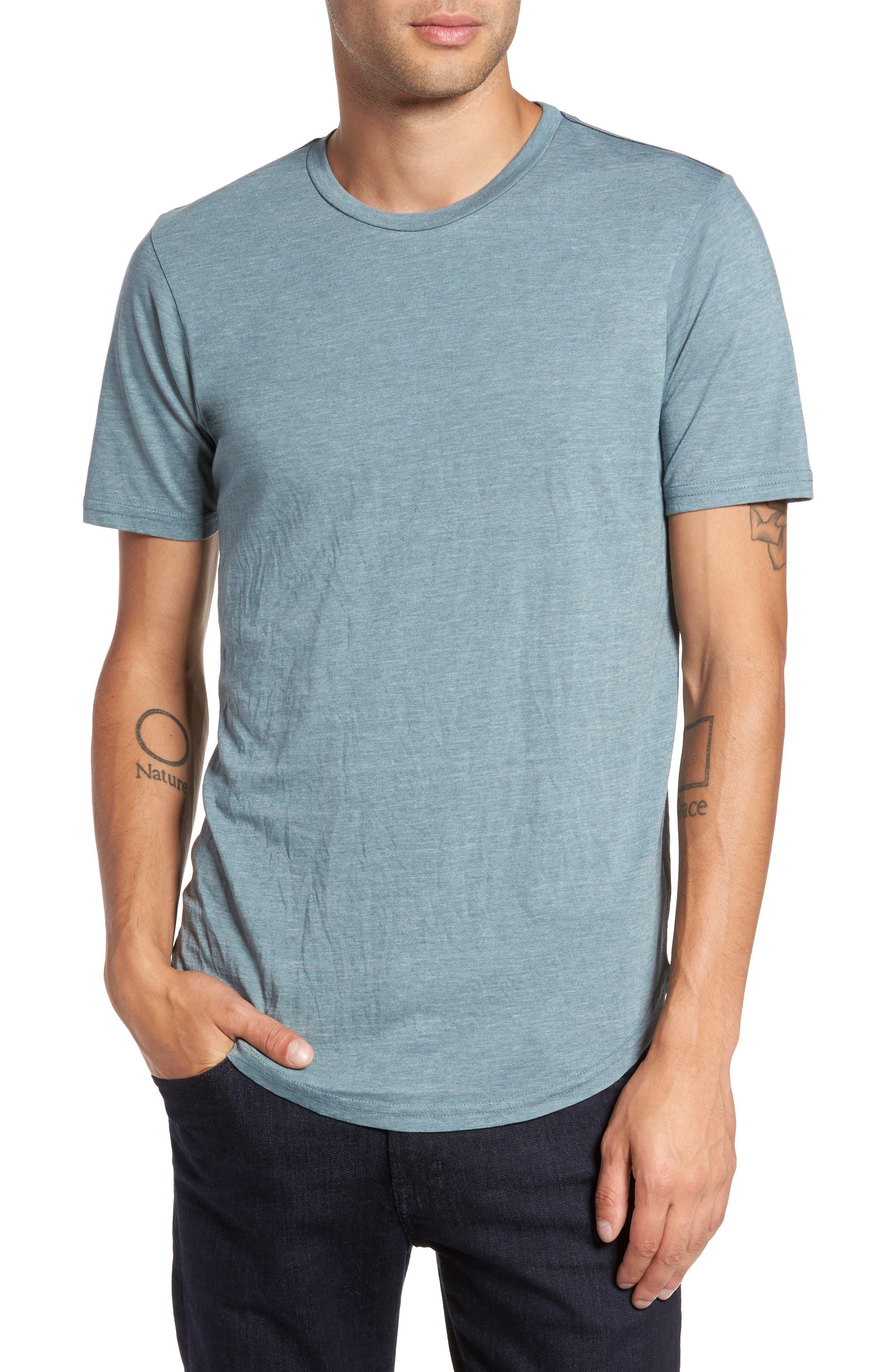 Scallop Triblend Crewneck T-Shirt,                         Main,                         color, Real Teal