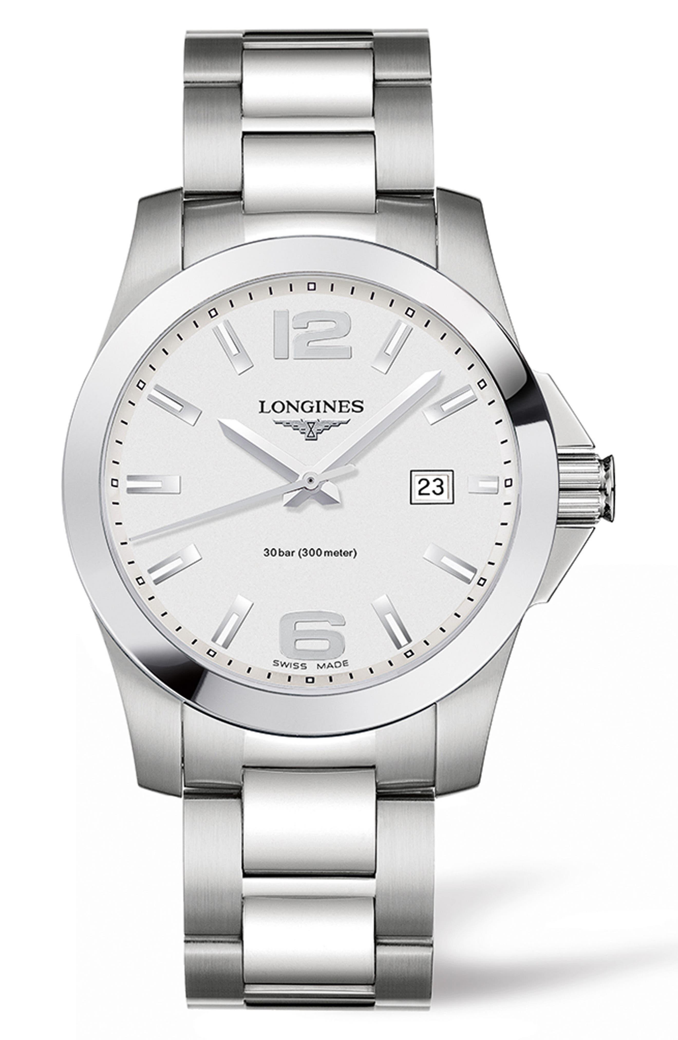 Conquest Bracelet Watch, 41mm,                         Main,                         color, Silver