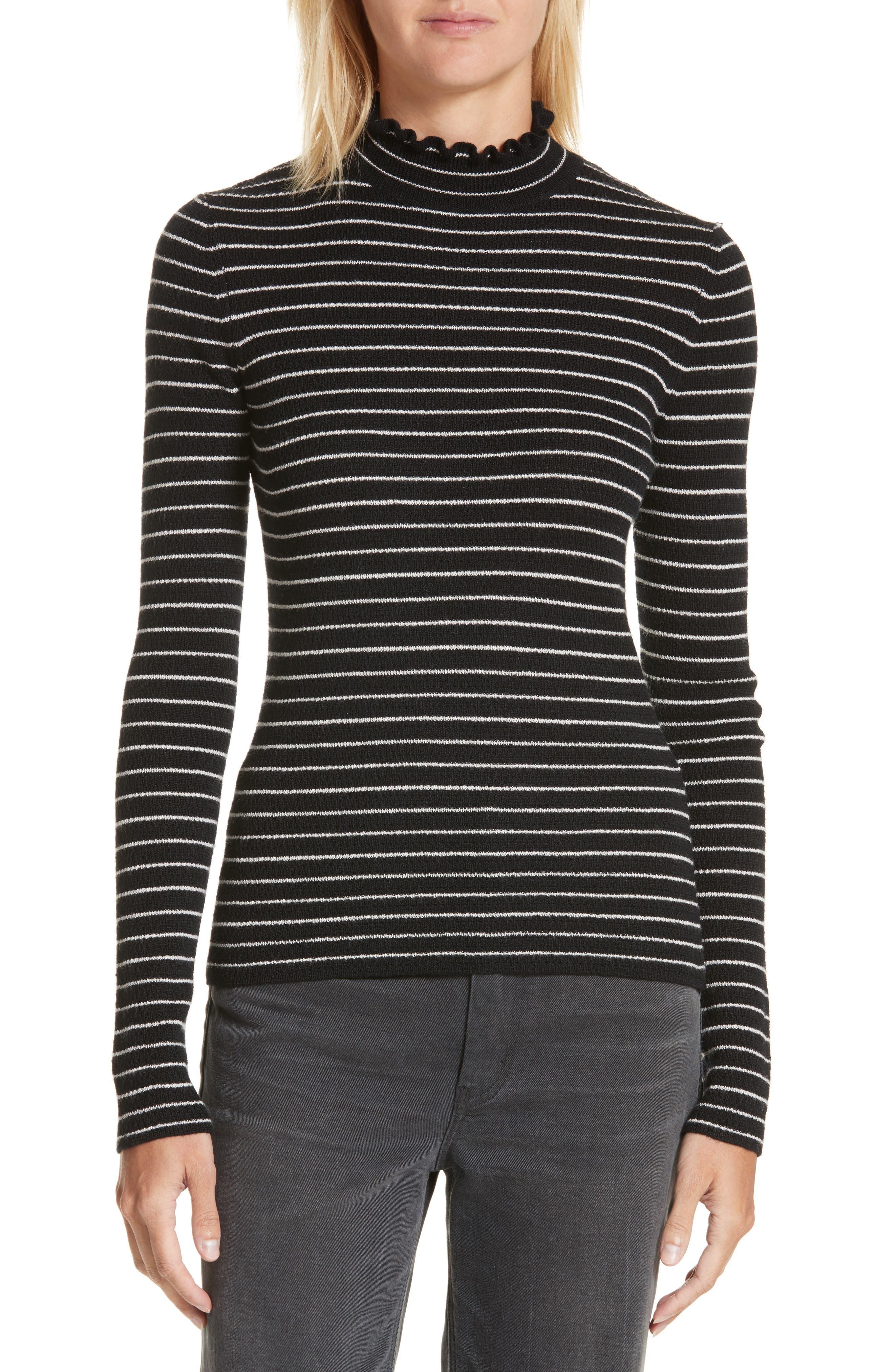 Merino Wool Pullover,                         Main,                         color, Black Stripe
