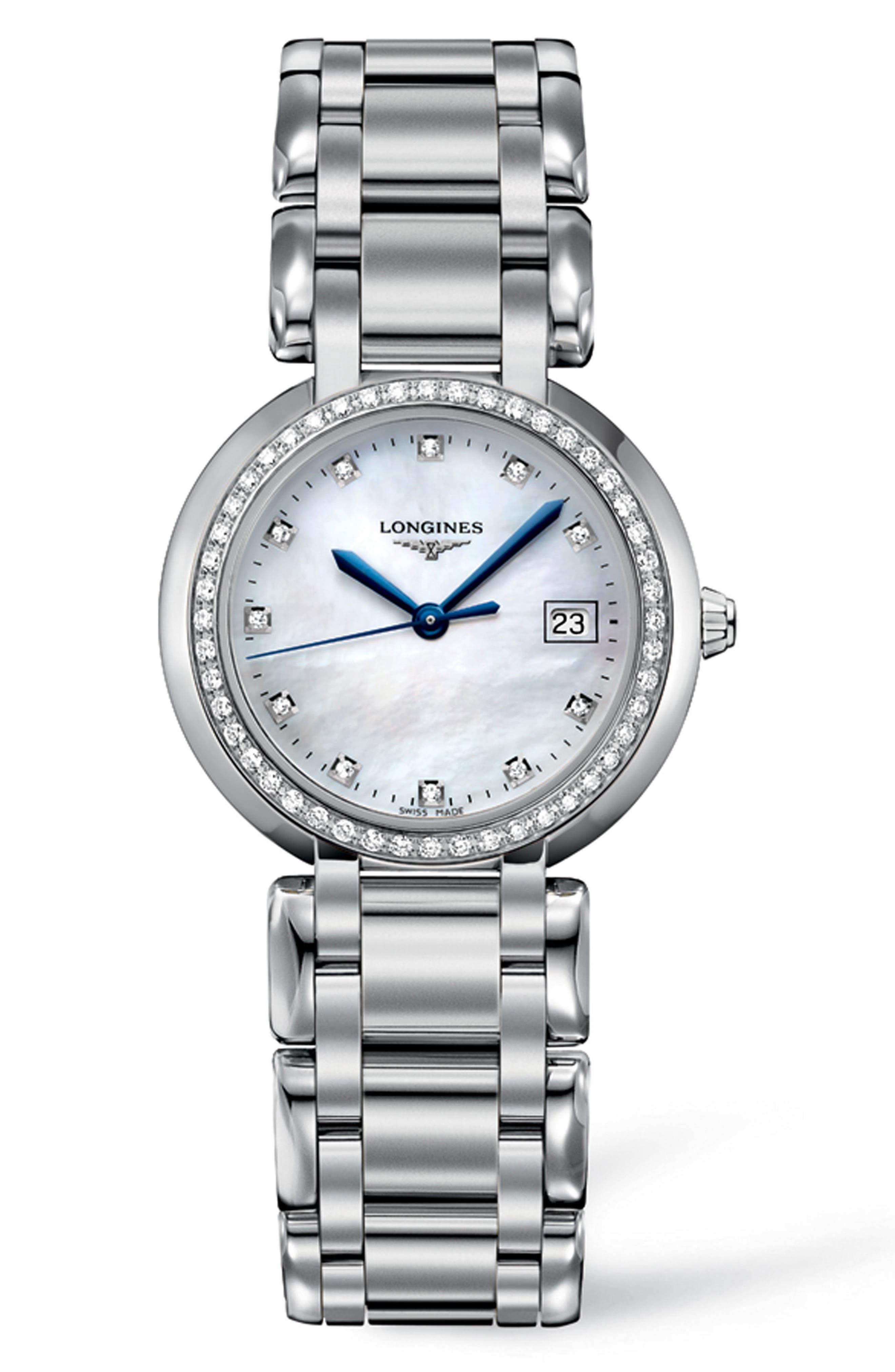 Main Image - Longines PrimaLuna Diamond Bracelet Watch, 30mm