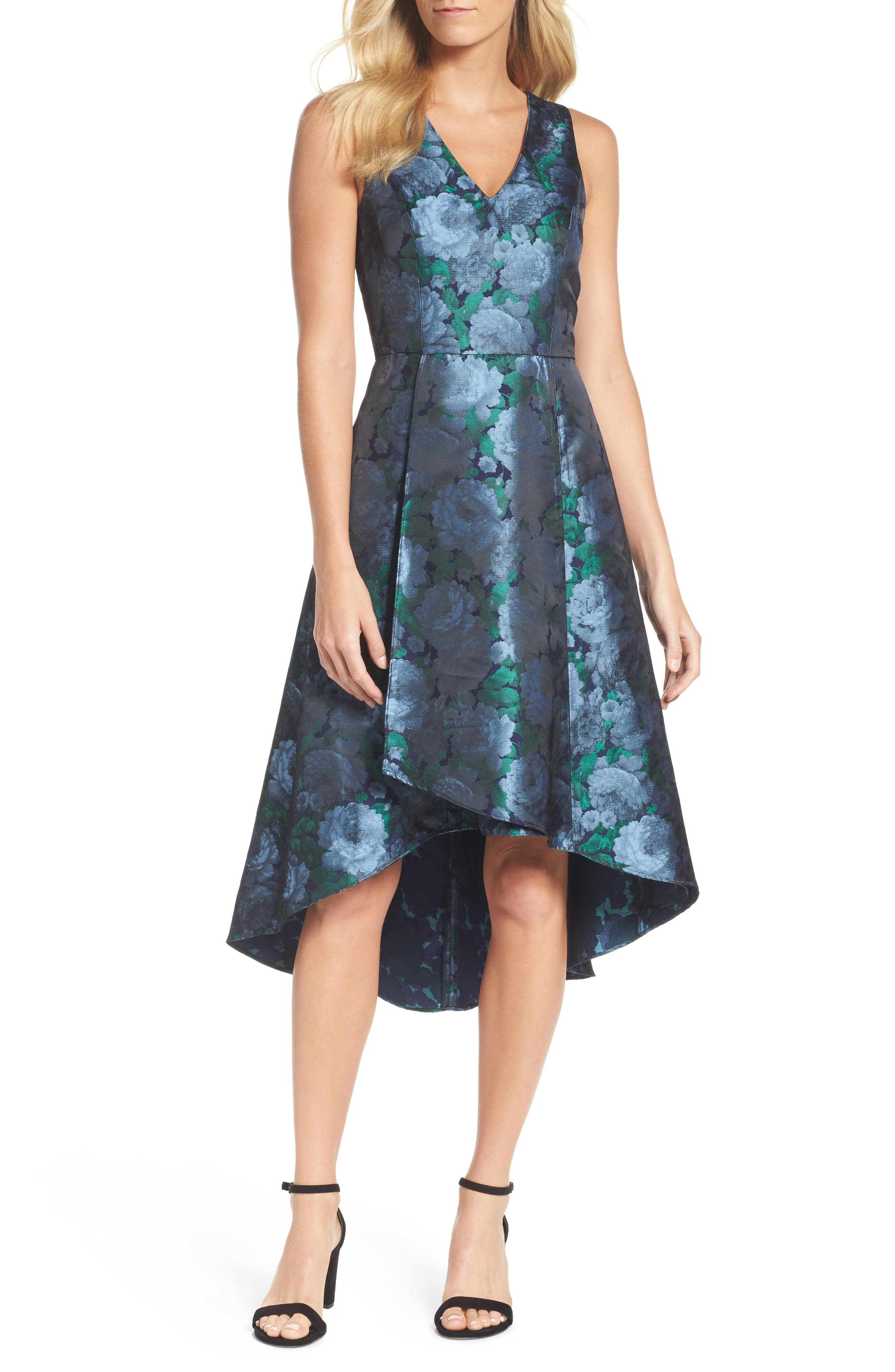 Brocade High/Low Dress,                         Main,                         color, Blue/ Navy