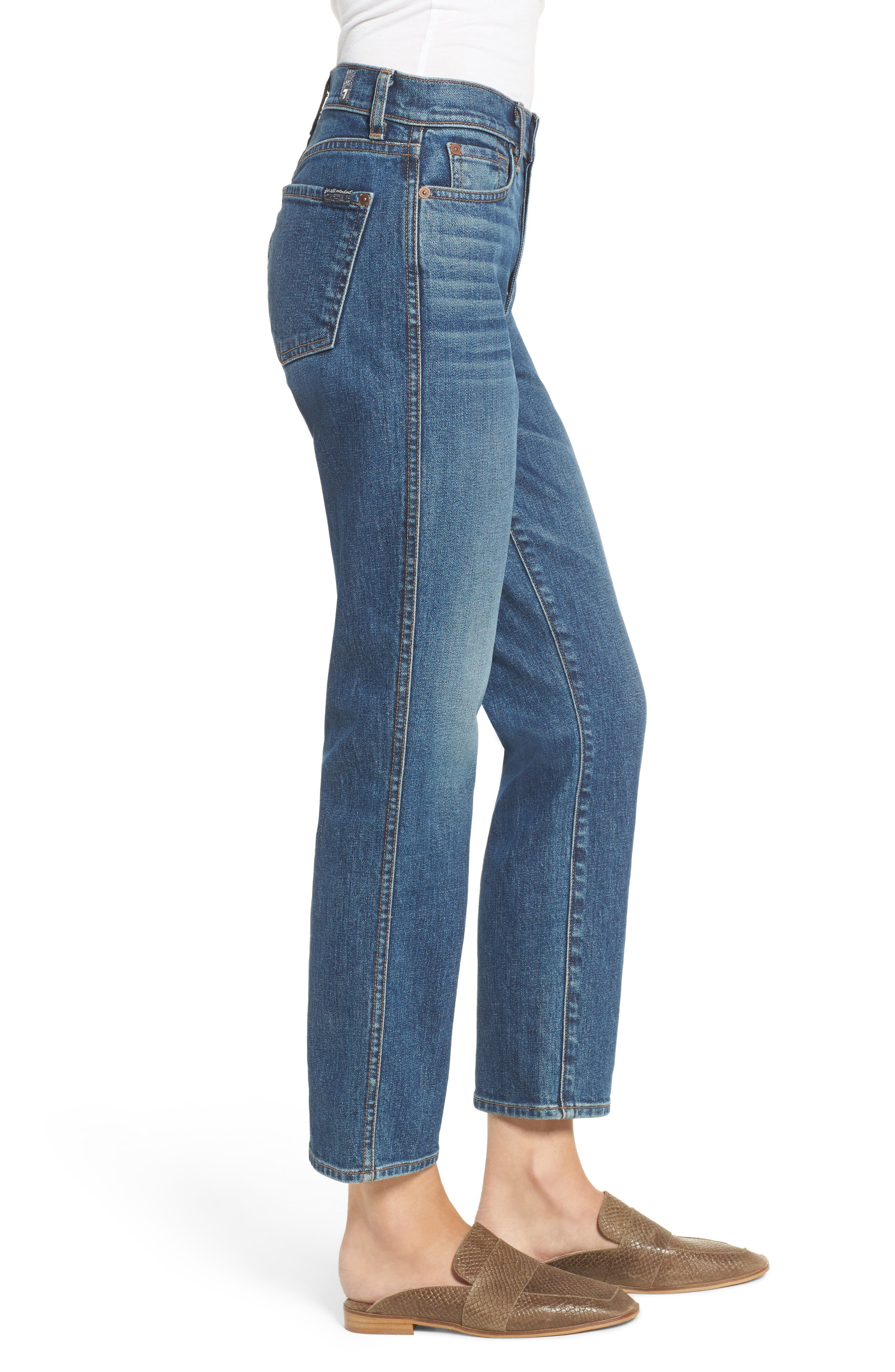 Edie High Waist Crop Straight Leg Jeans,                             Alternate thumbnail 4, color,                             Montreal
