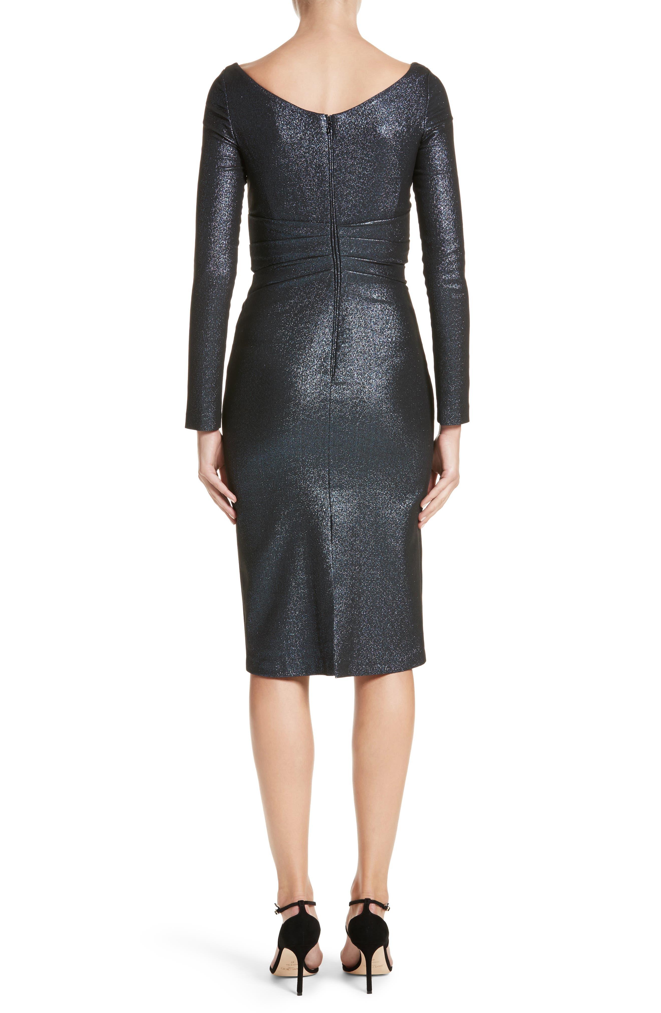 Alternate Image 2  - Talbot Runhof Metallic Asymmetrical Pleat Cocktail Dress