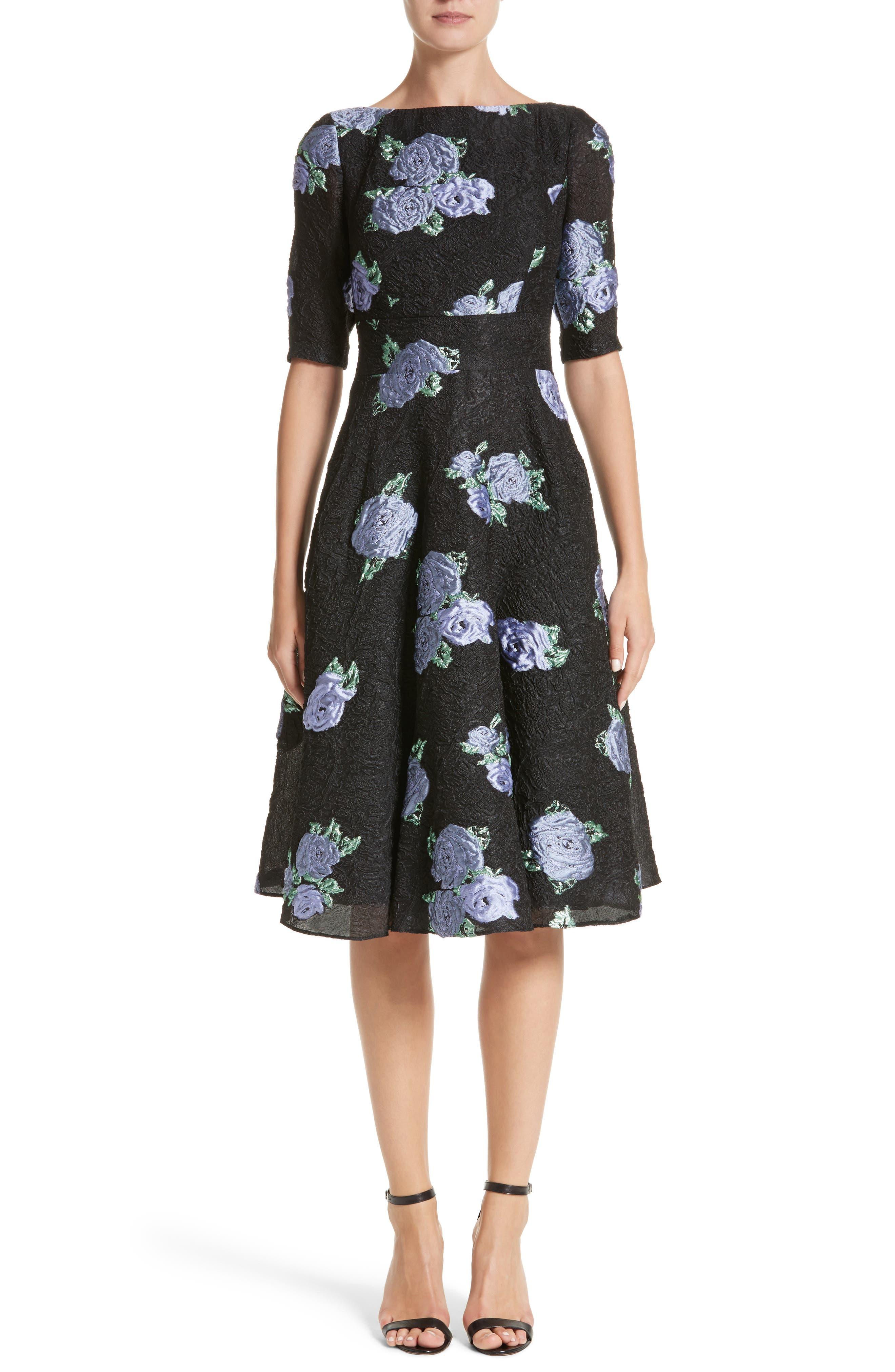Floral Matelassé Fit & Flare Dress,                             Main thumbnail 1, color,                             Black Multi