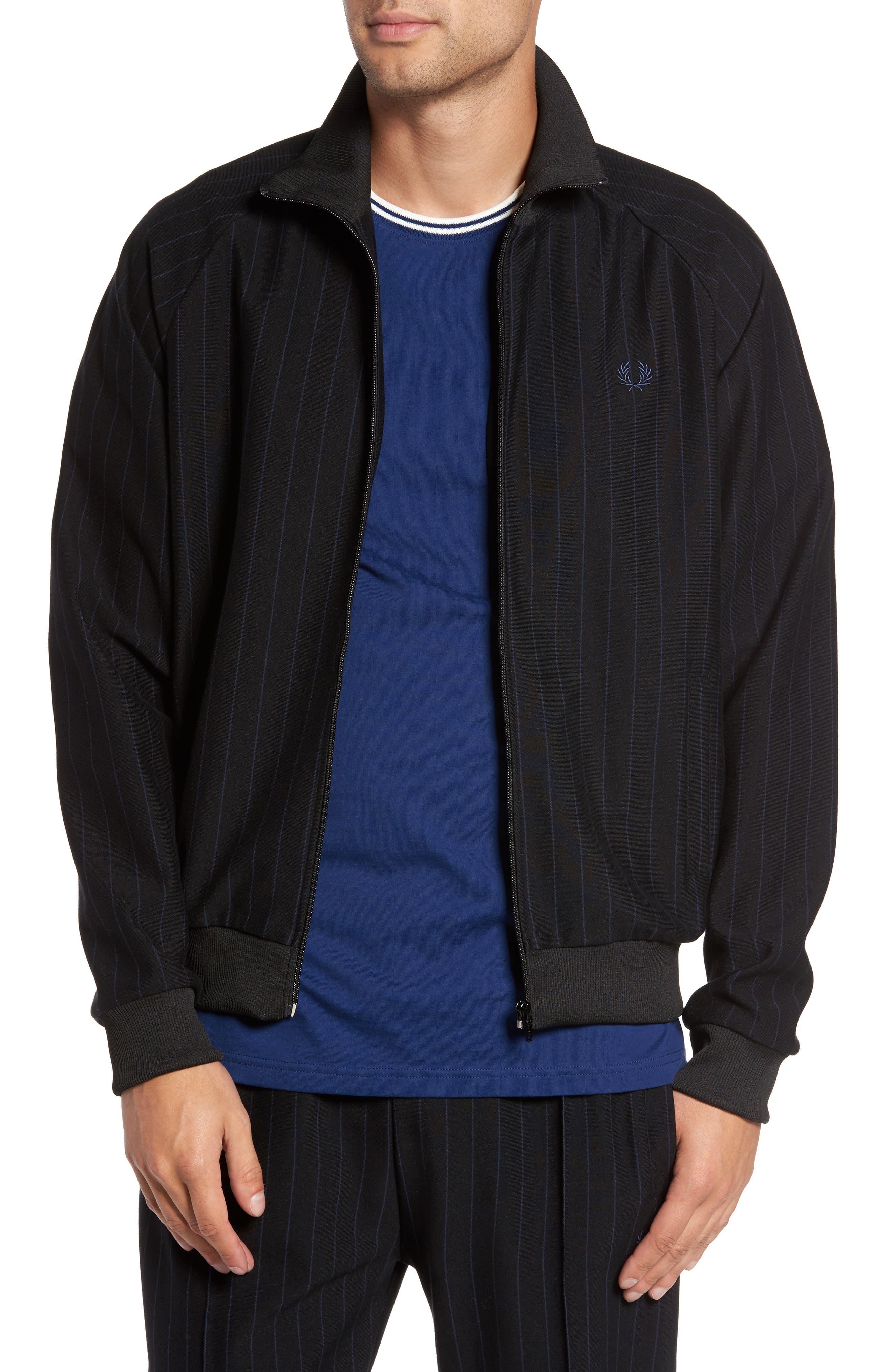 Pinstripe Track Jacket,                             Main thumbnail 1, color,                             Black