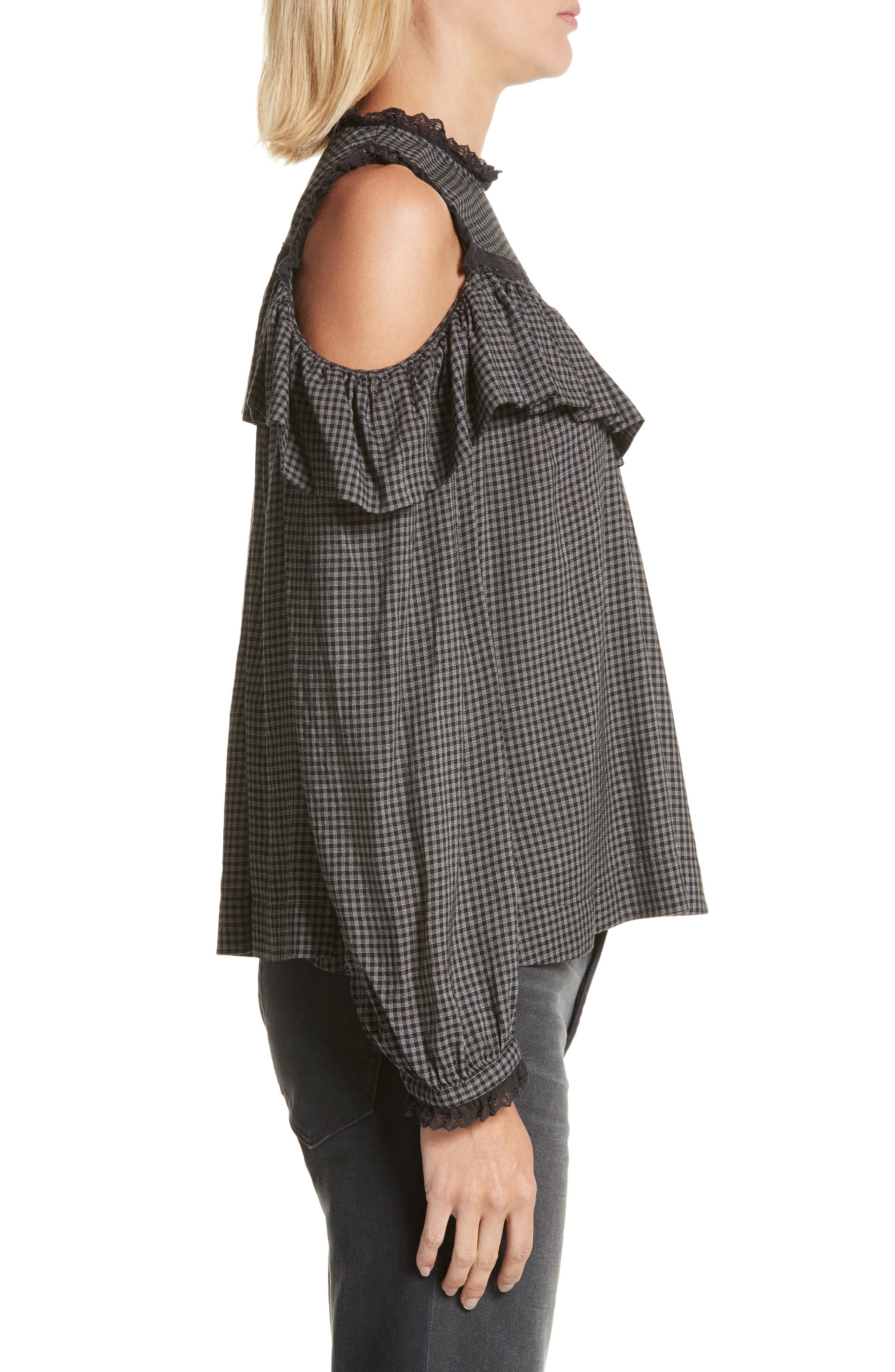 Alternate Image 3  - La Vie Rebecca Taylor Plaid Ruffle Cold Shoulder Top