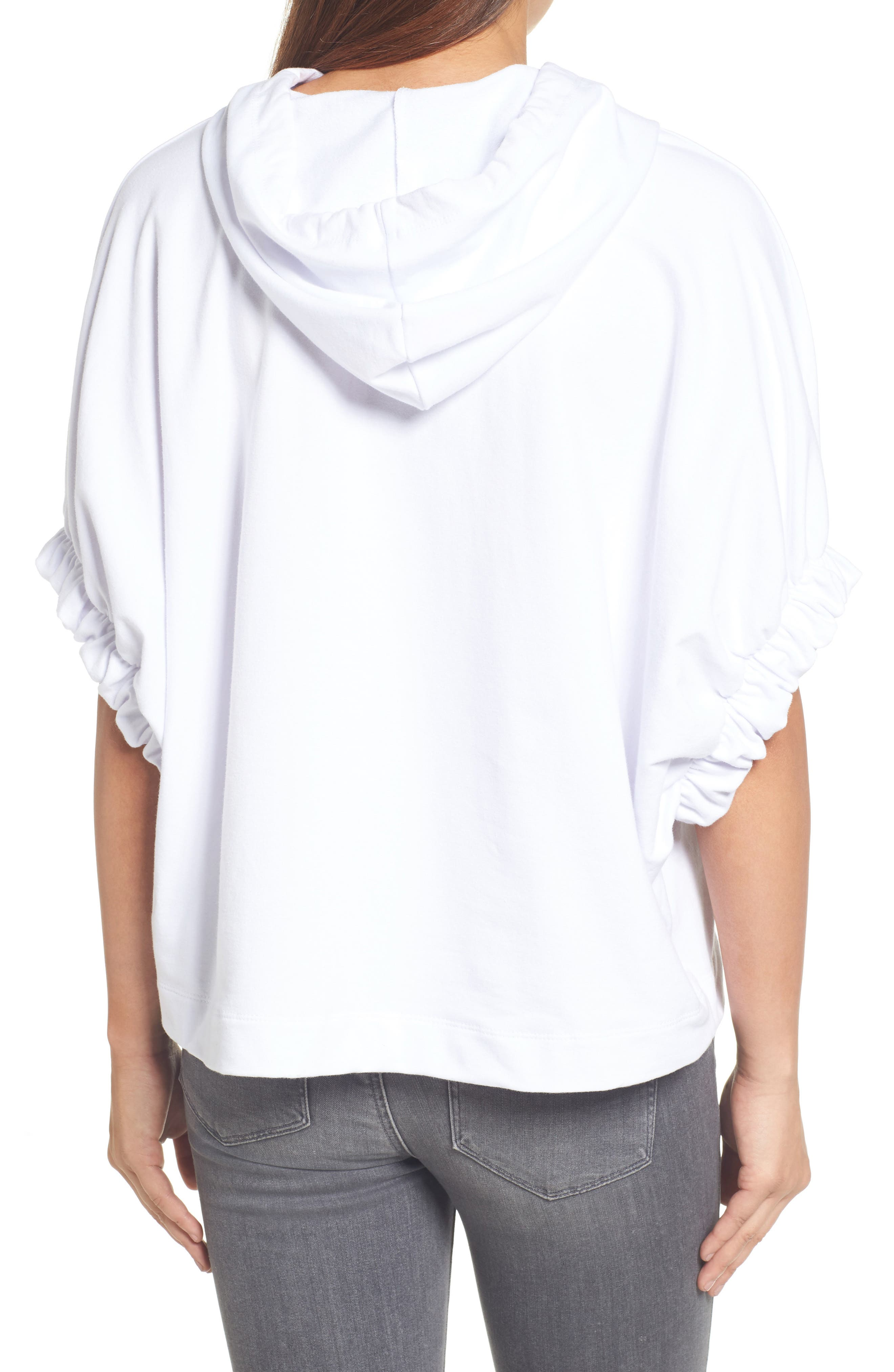 Gathered Sleeve Hoodie,                             Alternate thumbnail 2, color,                             White