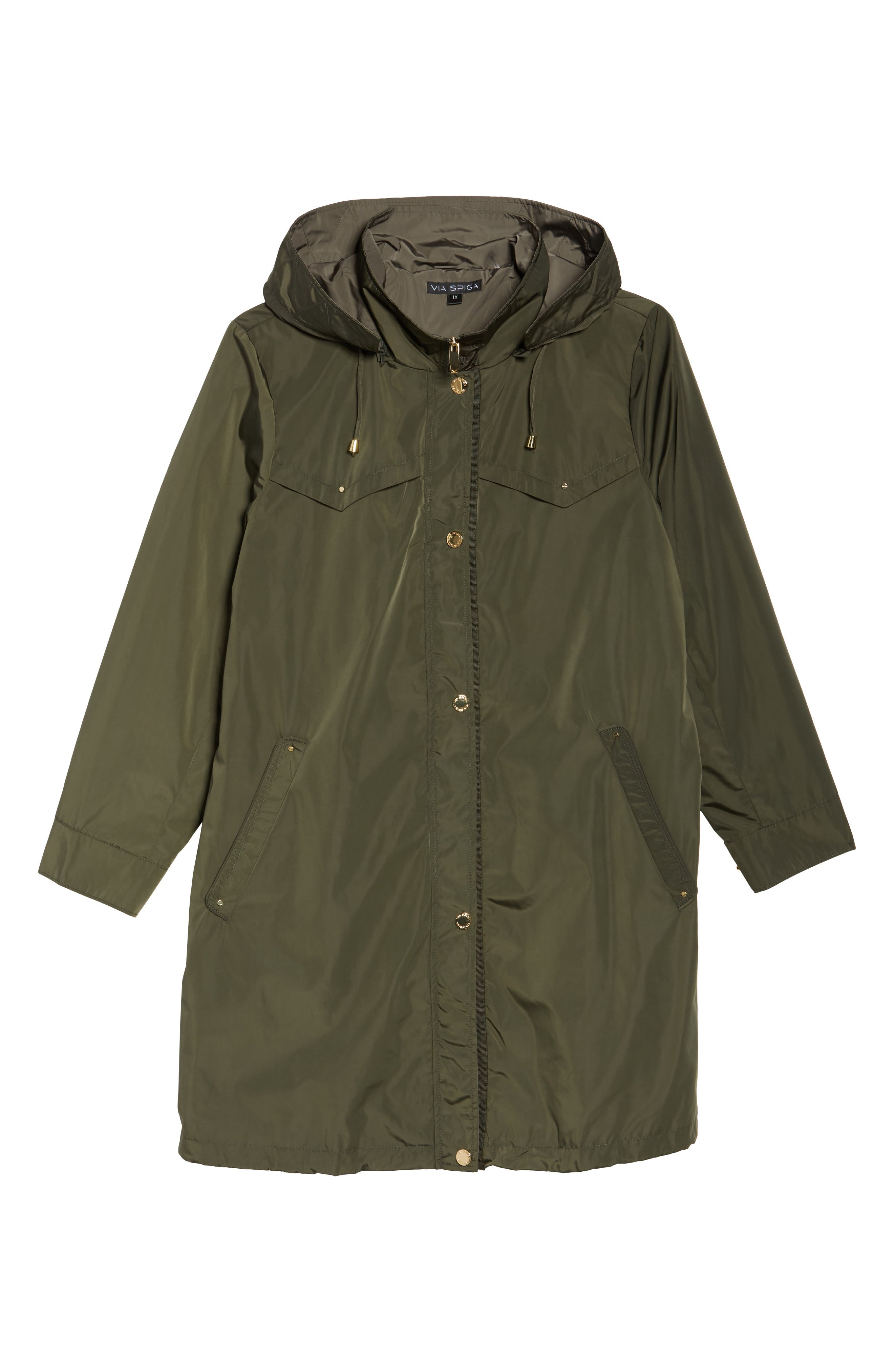 Alternate Image 6  - Via Spiga Hooded Packable Utility Coat (Plus Size)