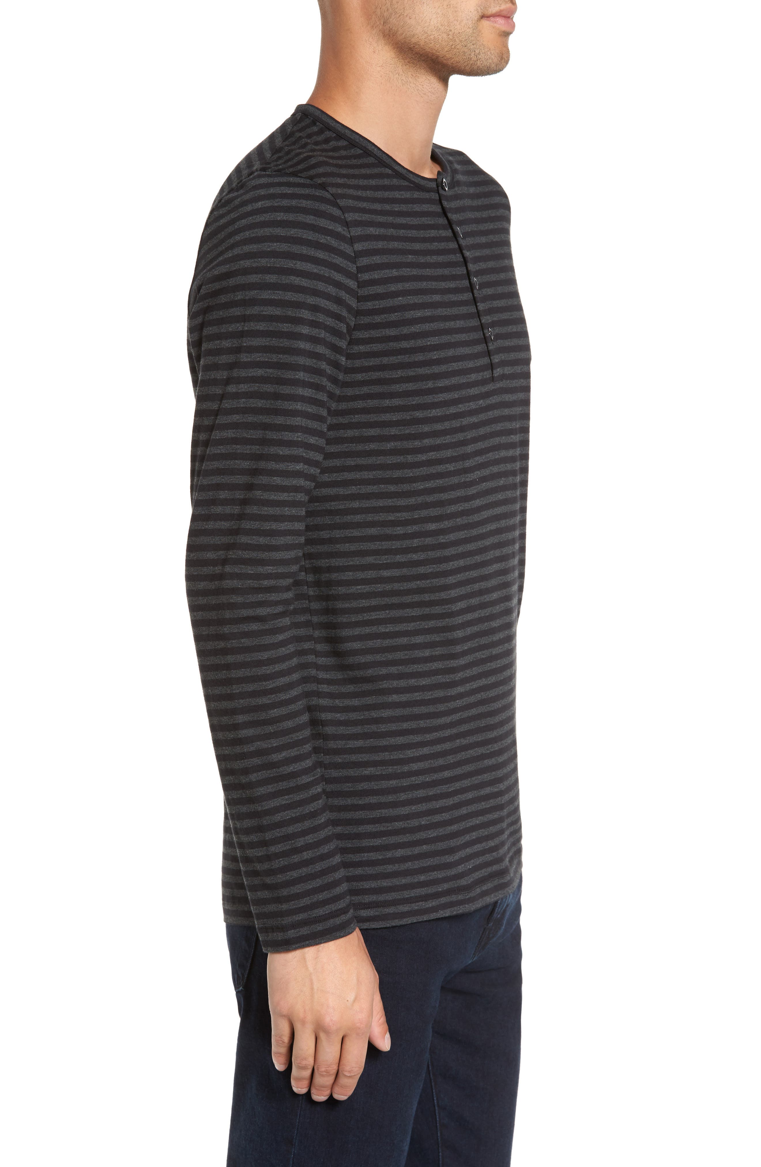 Long Sleeve Henley T-Shirt,                             Alternate thumbnail 3, color,                             Black/ Charcoal Stripe