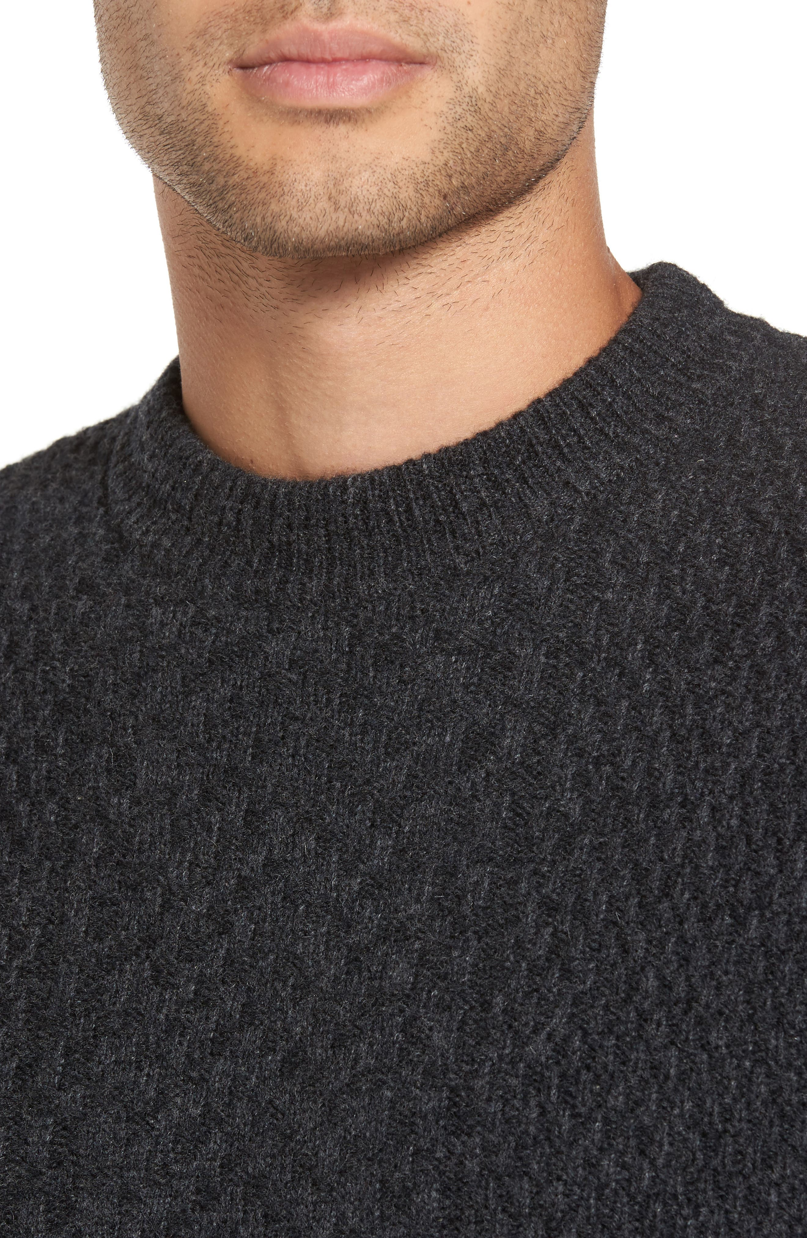 Wool Crewneck Sweater,                             Alternate thumbnail 4, color,                             Charcoal