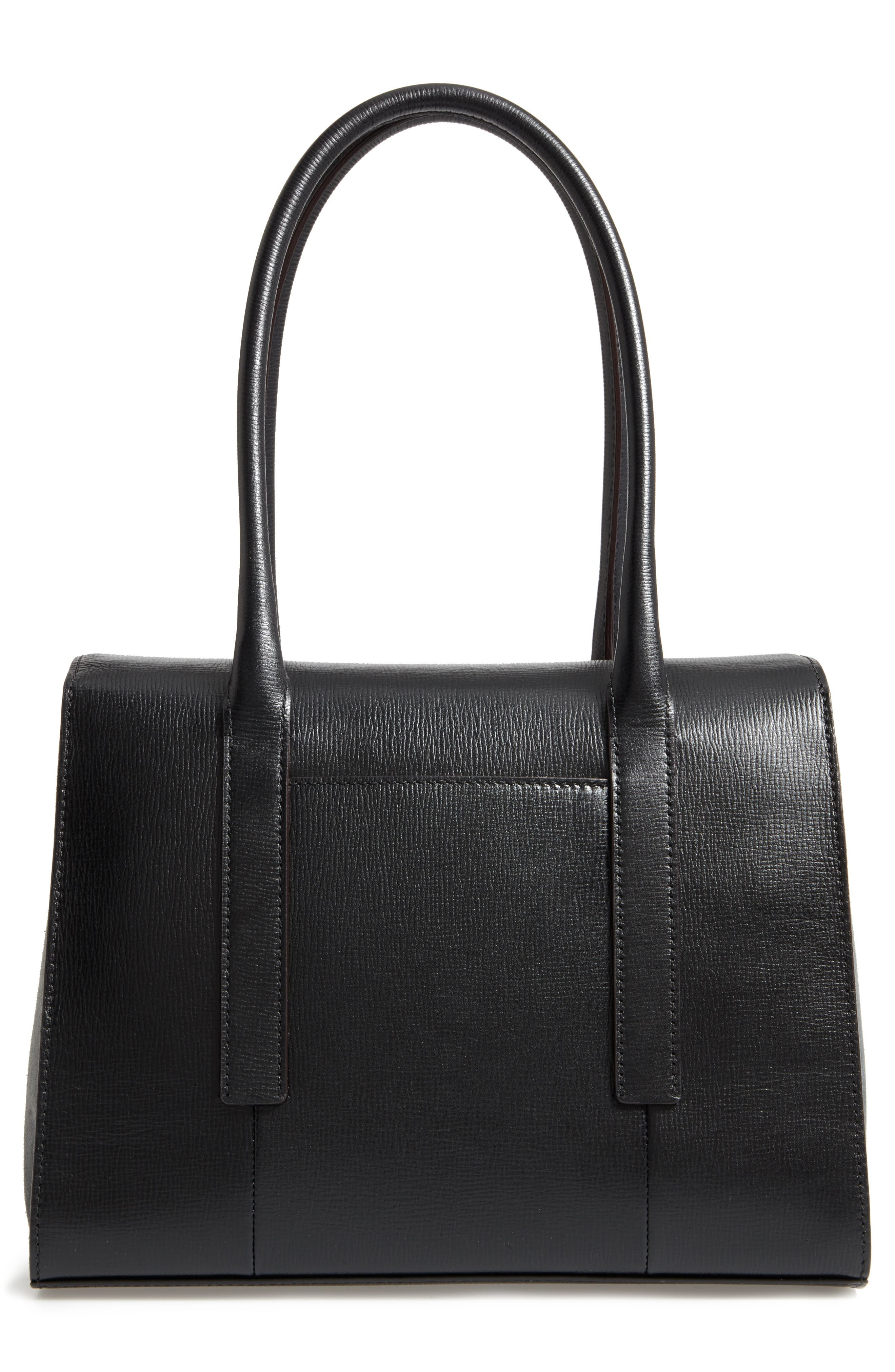 Business Chic Paula RFID-Protected Coated Leather & Suede Brief Shoulder Bag,                             Alternate thumbnail 3, color,                             Black