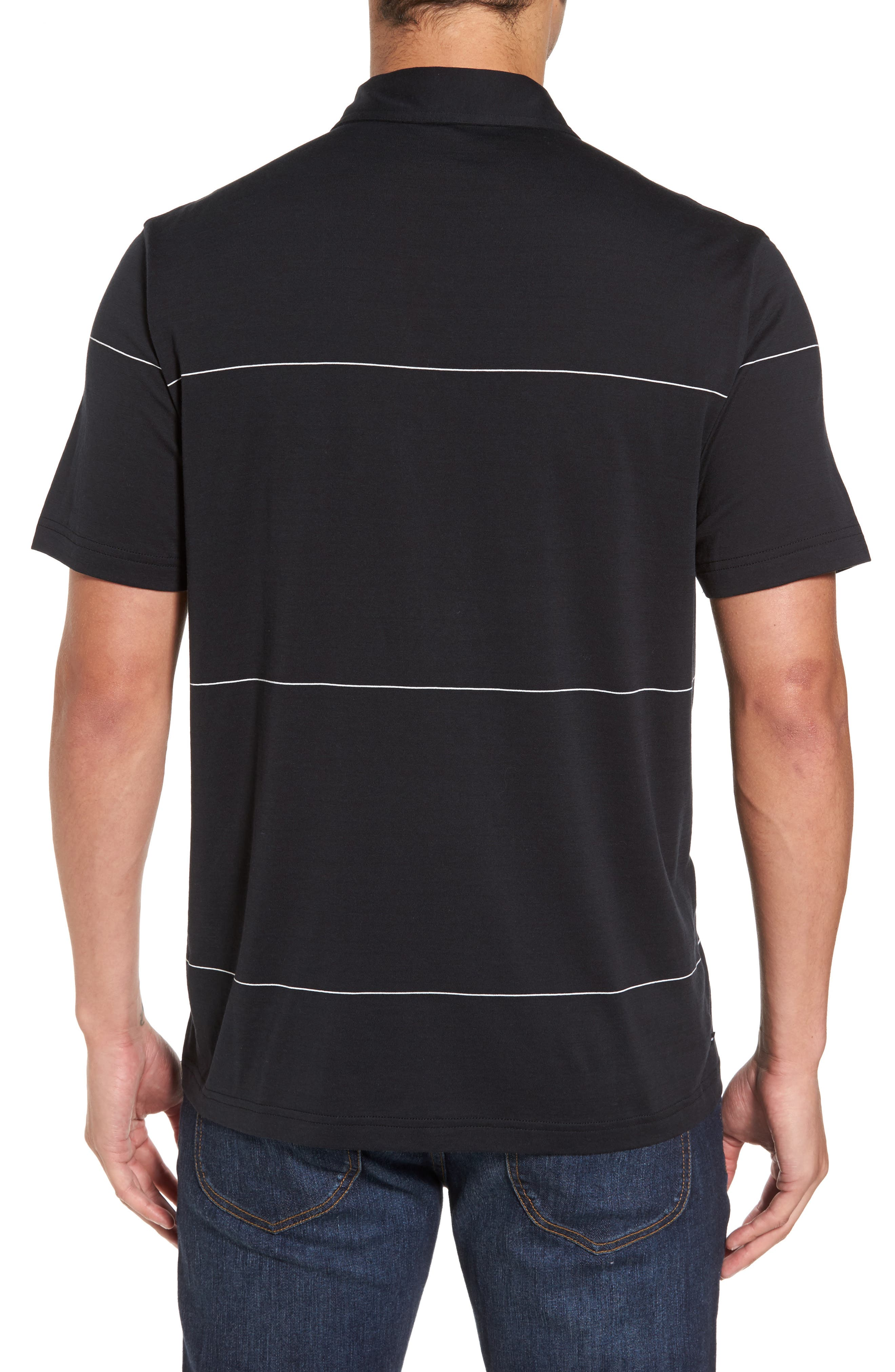 KJ Chalk Stripe Polo,                             Alternate thumbnail 2, color,                             Black