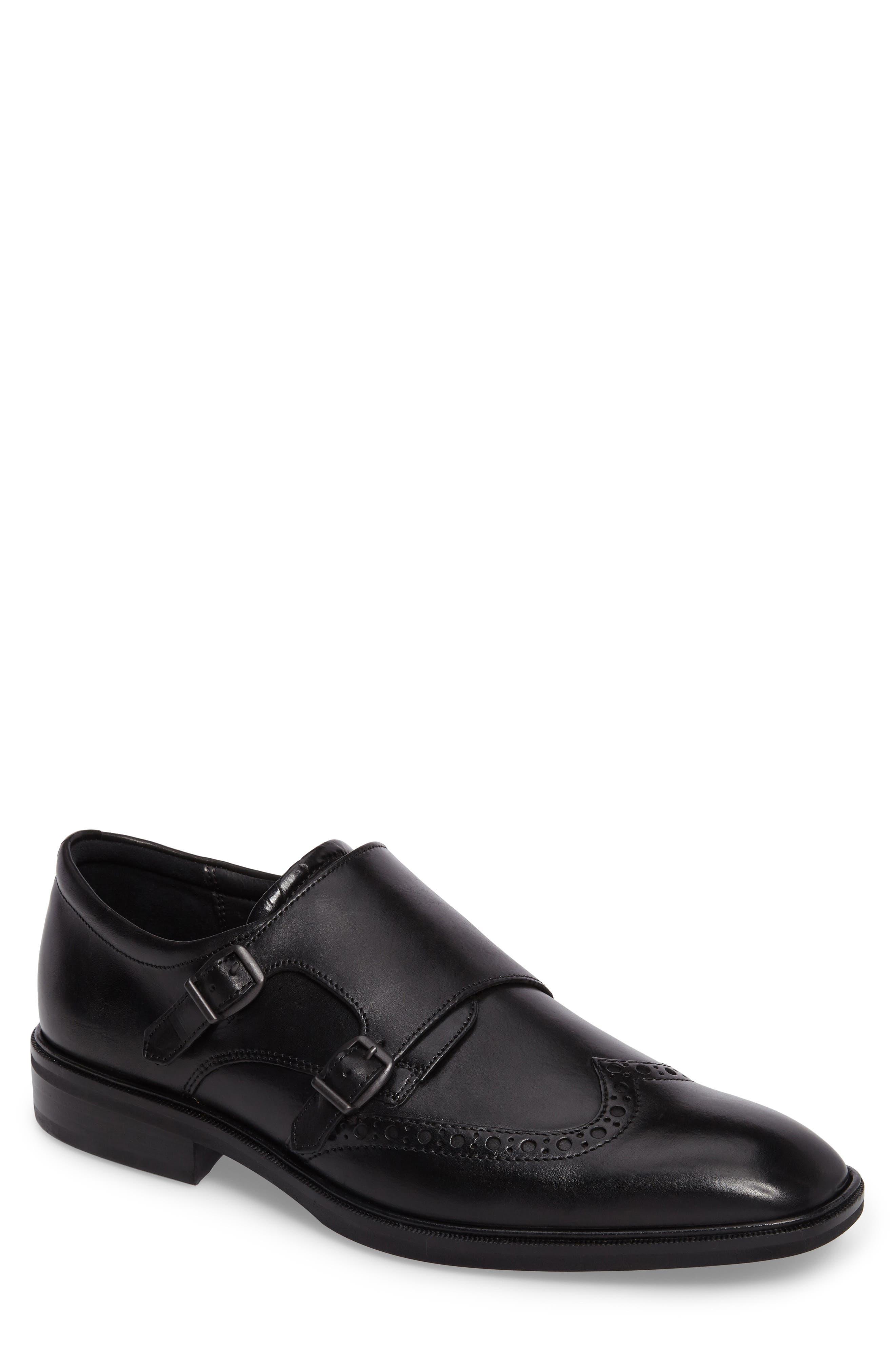 Illinois Double Monk Strap Shoe,                             Main thumbnail 1, color,                             Black Leather
