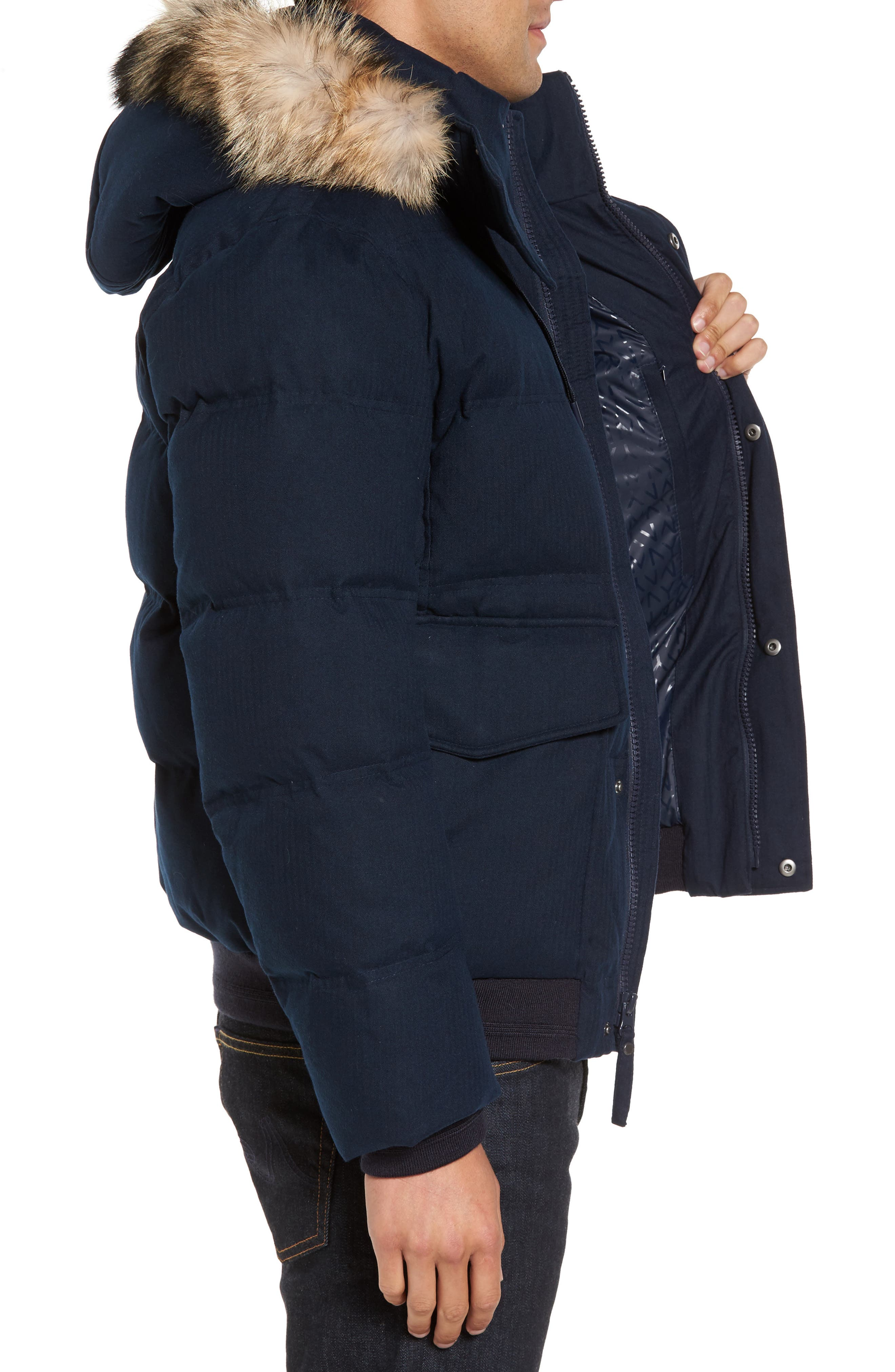 Alternate Image 3  - Marc New York Down Herringbone Jacket with Genuine Coyote Fur Trim