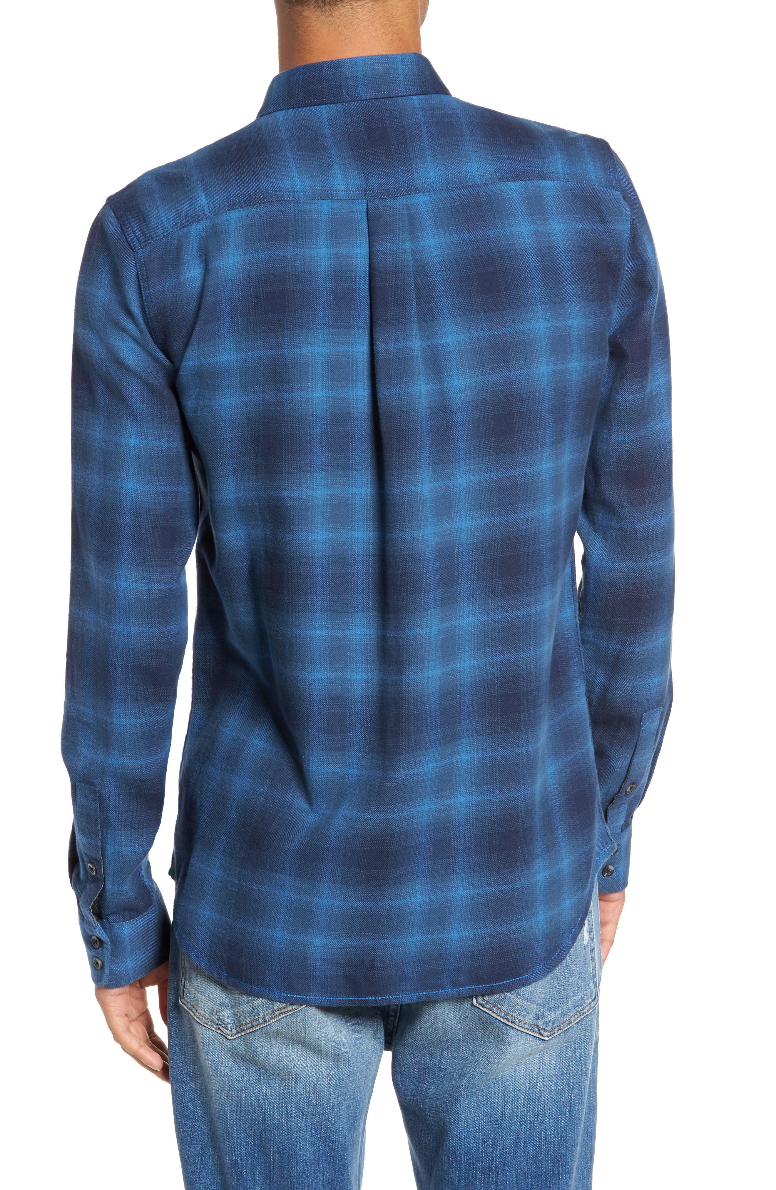 Monterey II Plaid Flannel Sport Shirt,                             Alternate thumbnail 2, color,                             Delft