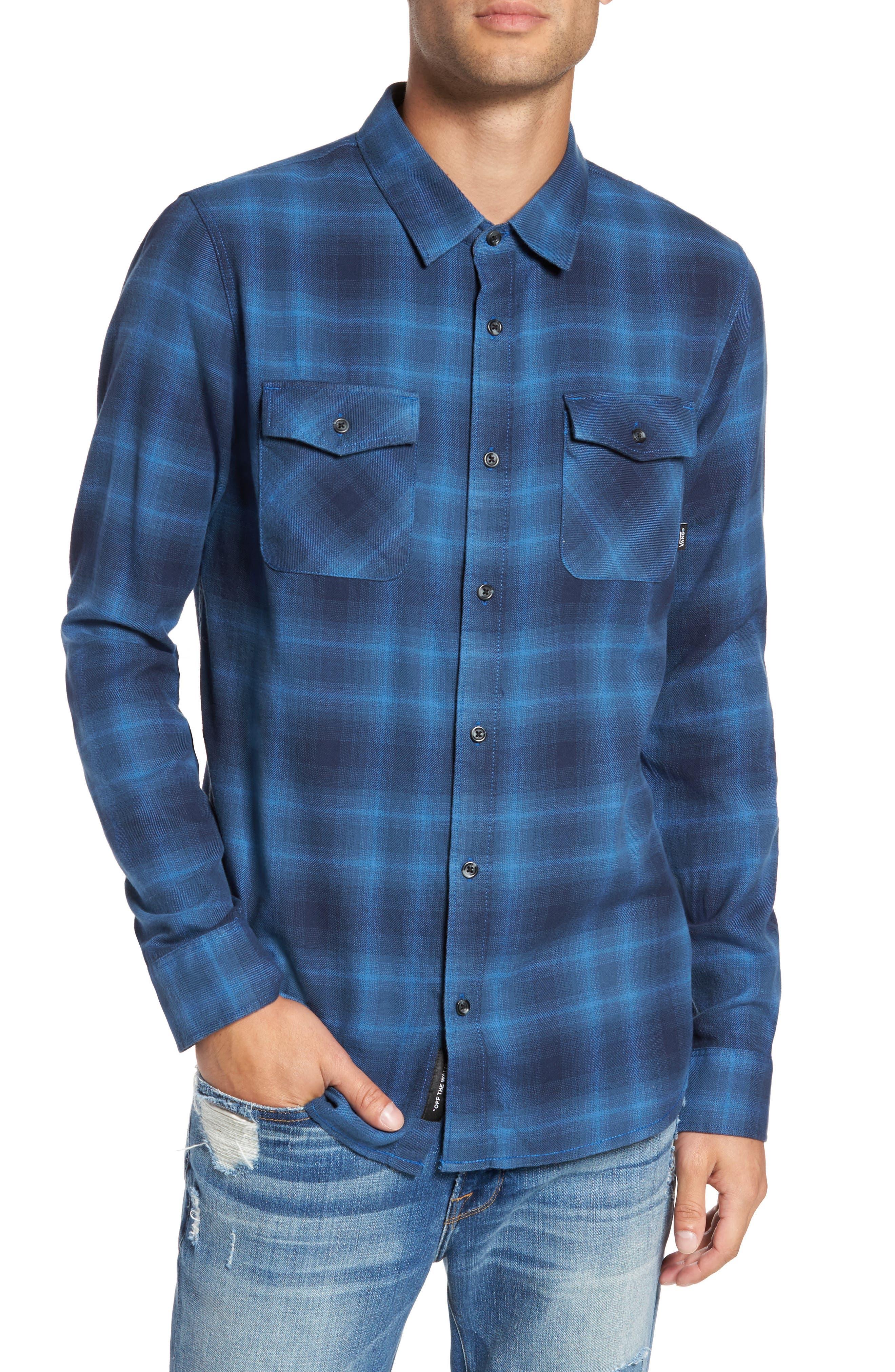 Monterey II Plaid Flannel Sport Shirt,                         Main,                         color, Delft