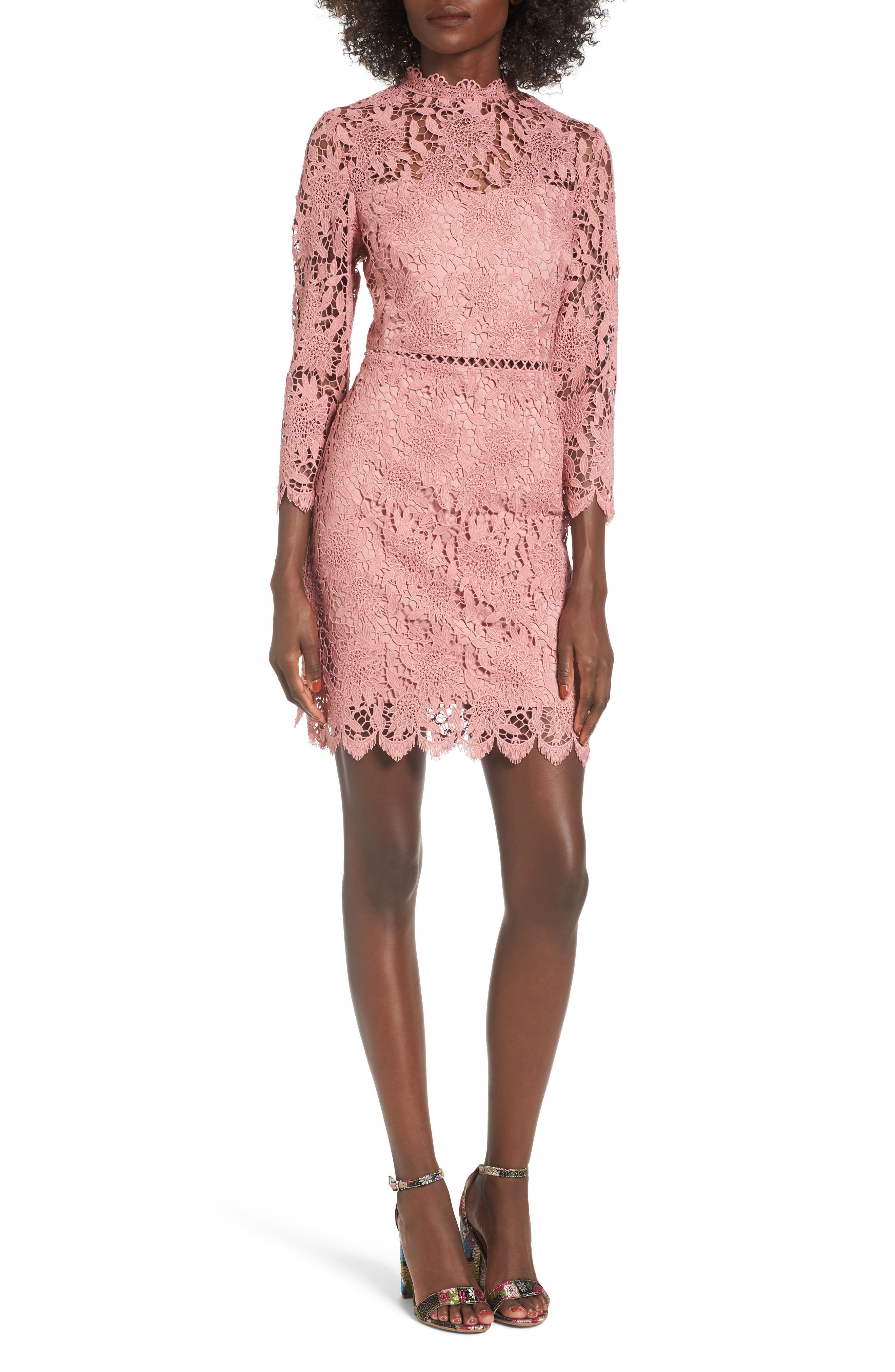 Lace Sheath Dress,                             Main thumbnail 1, color,                             Pink