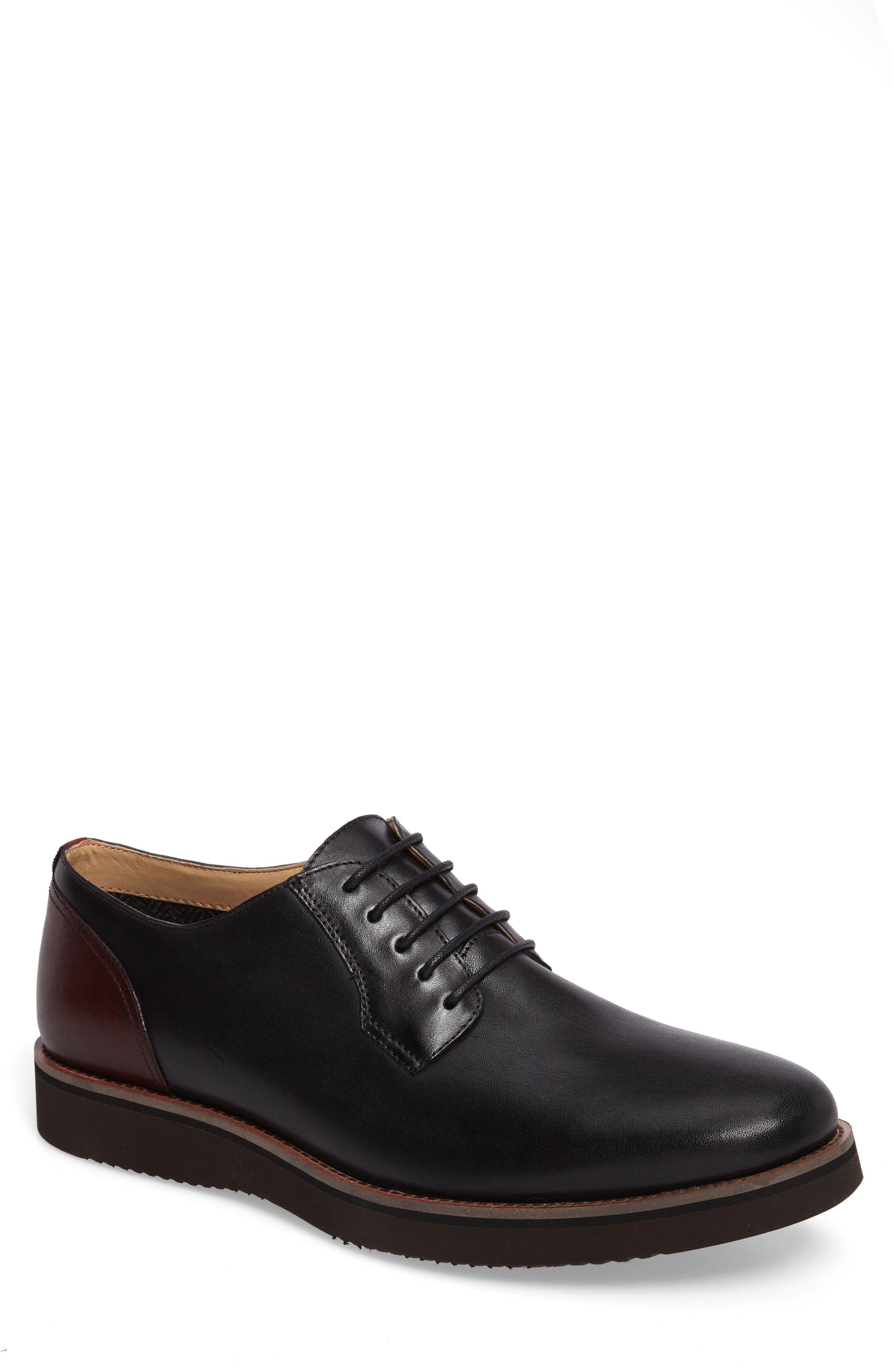 Saxon Plain Toe Derby,                         Main,                         color, Black Leather