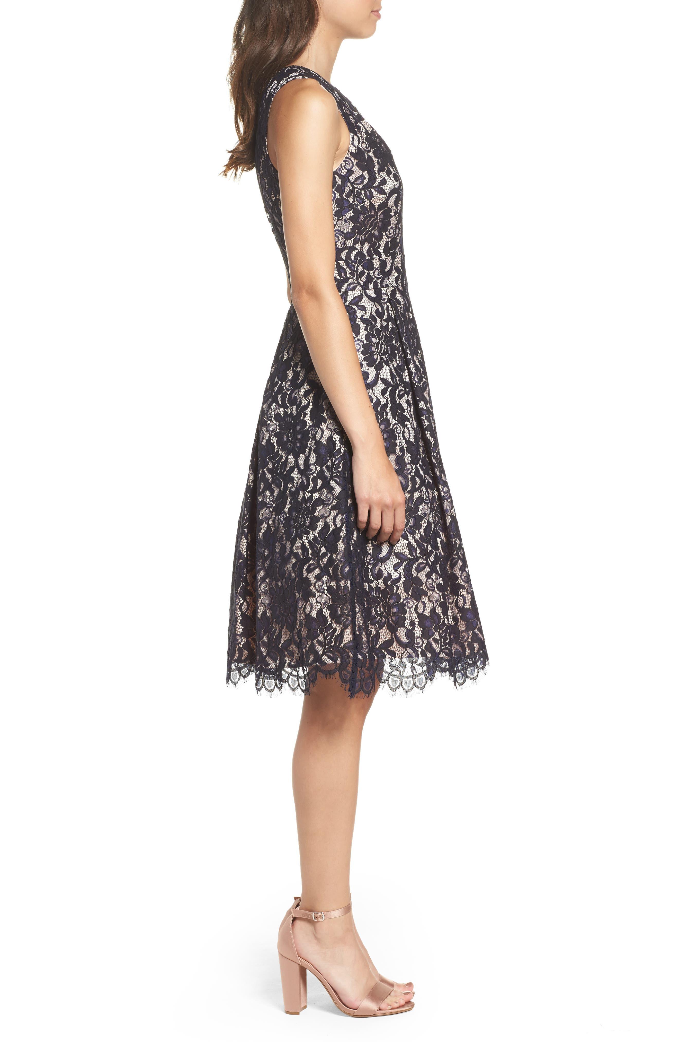 One-Shoulder Lace Dress,                             Alternate thumbnail 3, color,                             Navy
