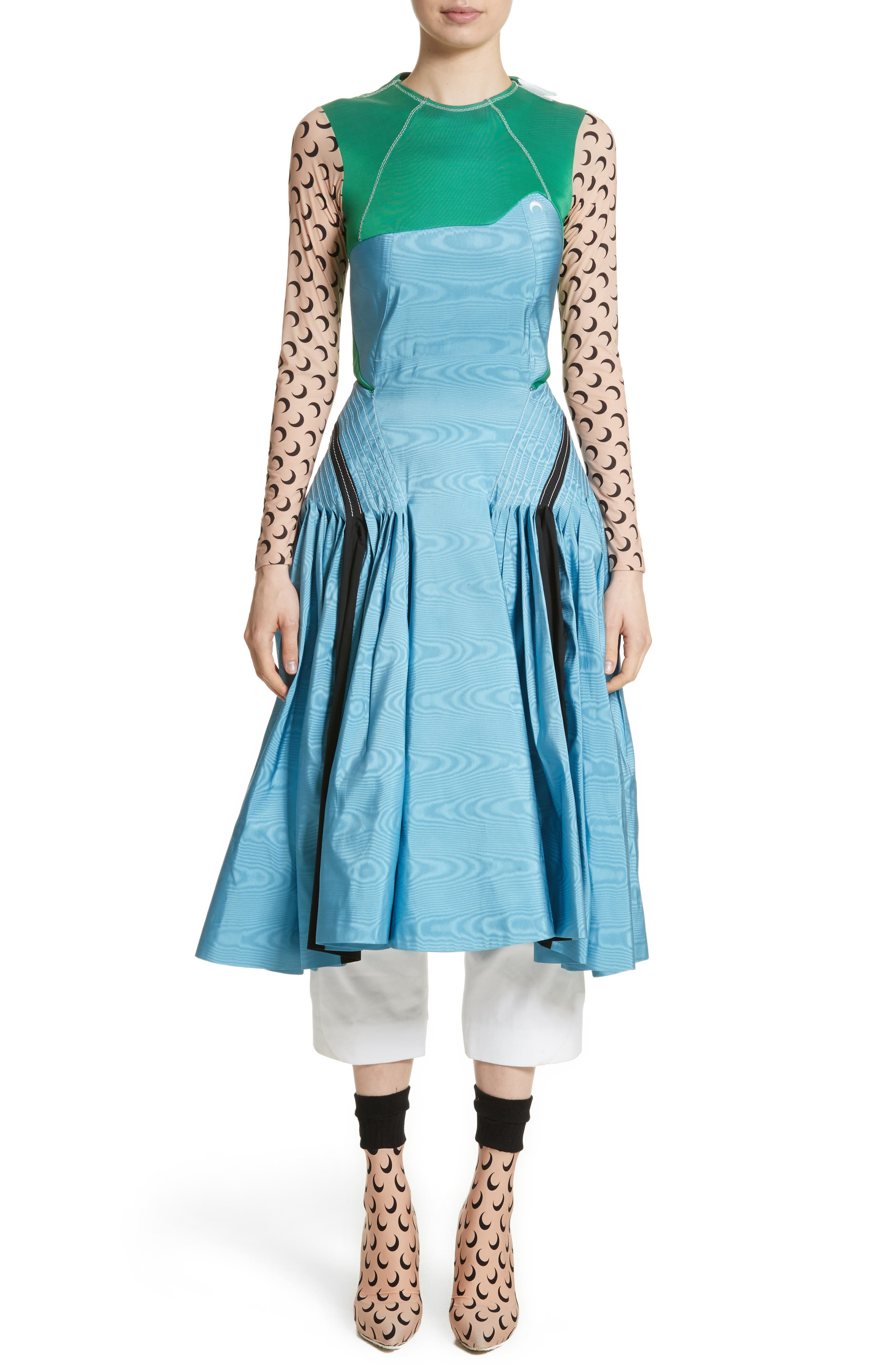 Pleated Moiré Dress,                             Main thumbnail 1, color,                             Blue Green Black