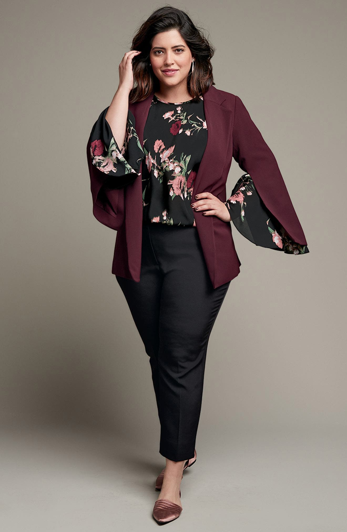 Vince Camuto Blazer, Blouse & Ankle Pants Outfit with Accessories (Plus Size)