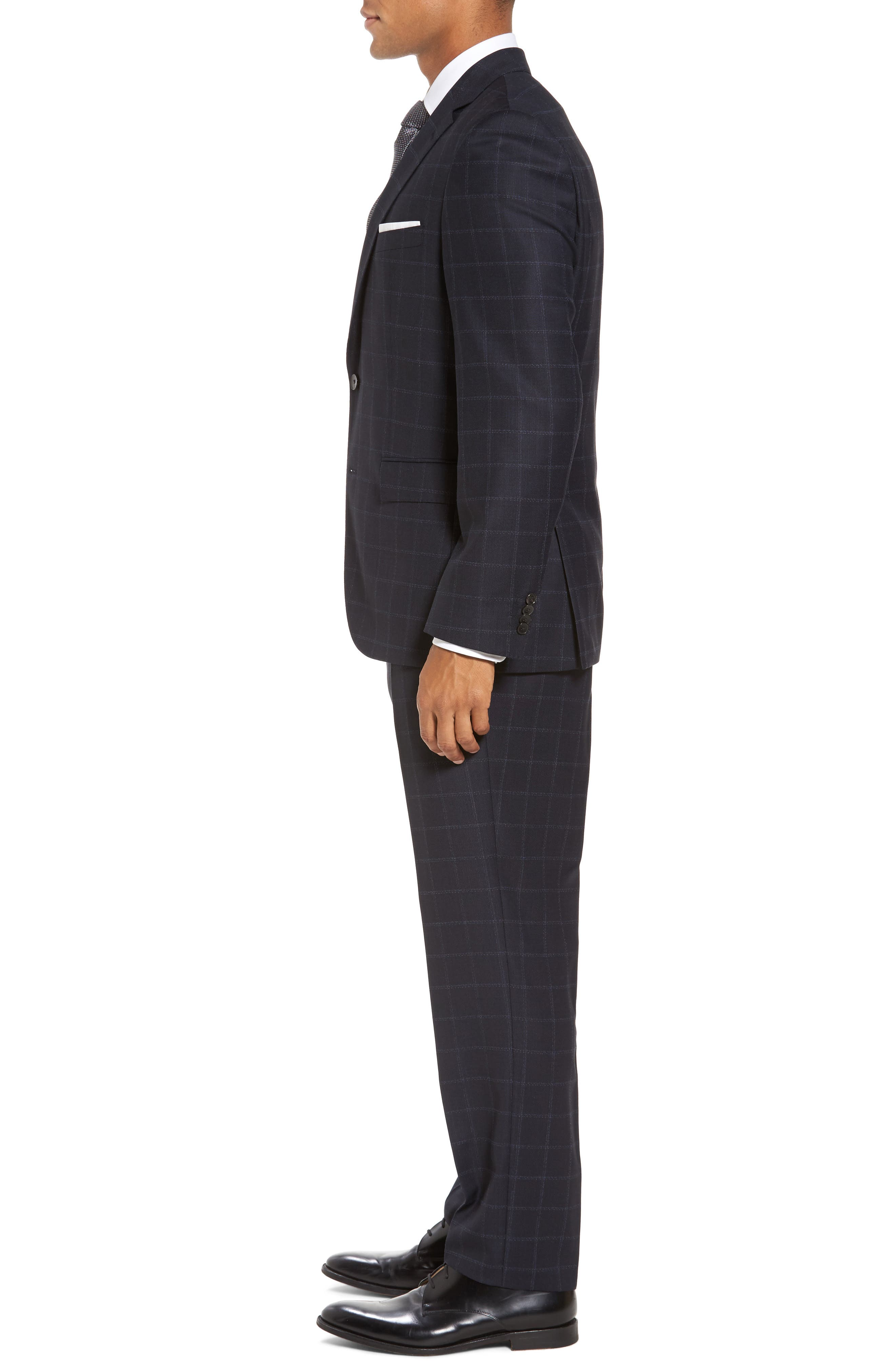 Johnstons/Lenon Classic Fit Windowpane Wool Suit,                             Alternate thumbnail 3, color,                             Navy