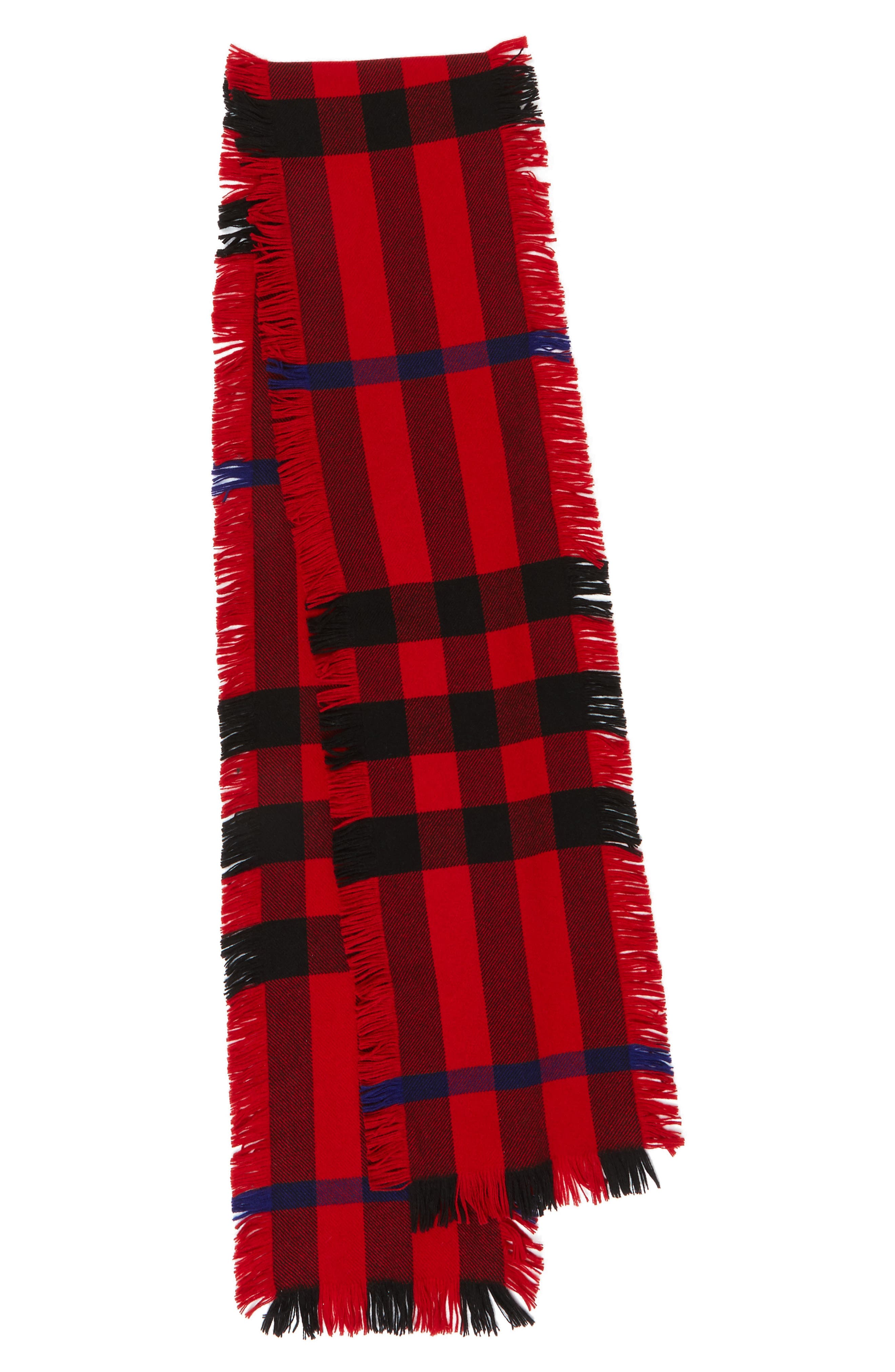 Mega Fashion Fringe Wool Scarf,                         Main,                         color, Military Red