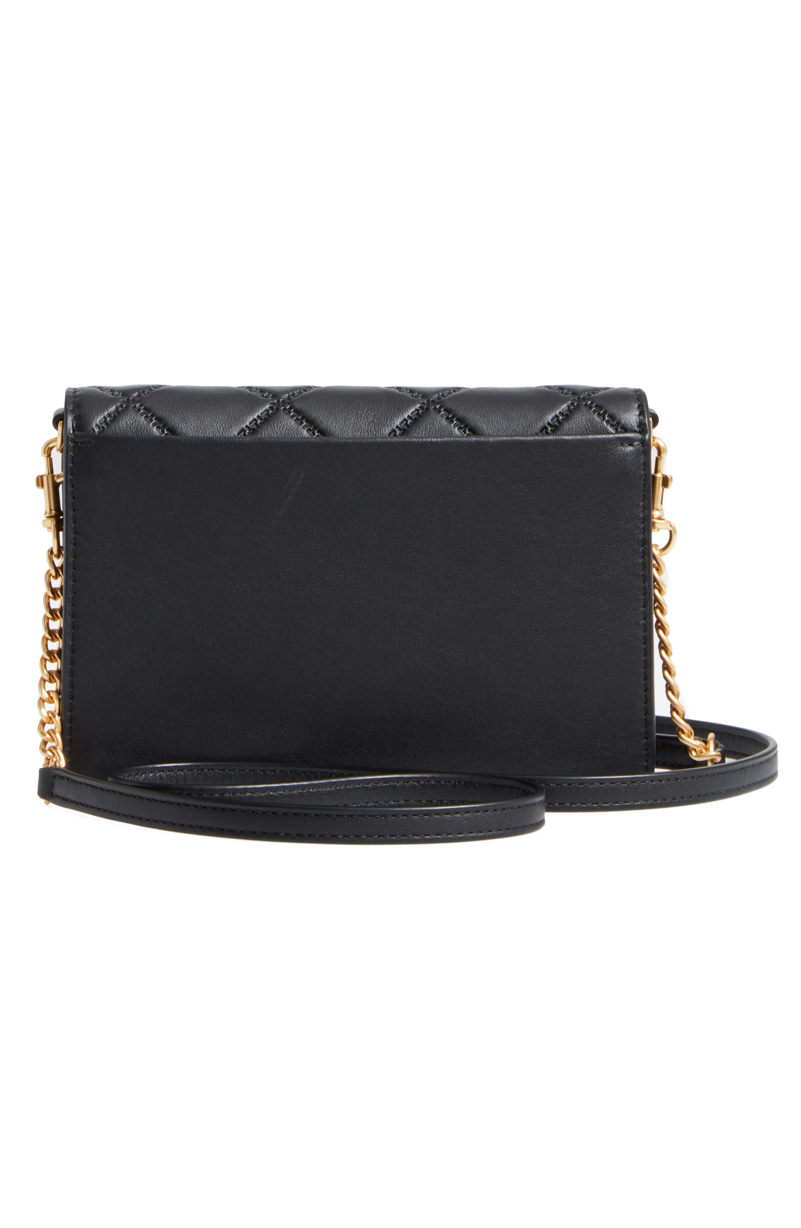 Mini Georgia Quilted Leather Shoulder Bag,                             Alternate thumbnail 2, color,                             Black