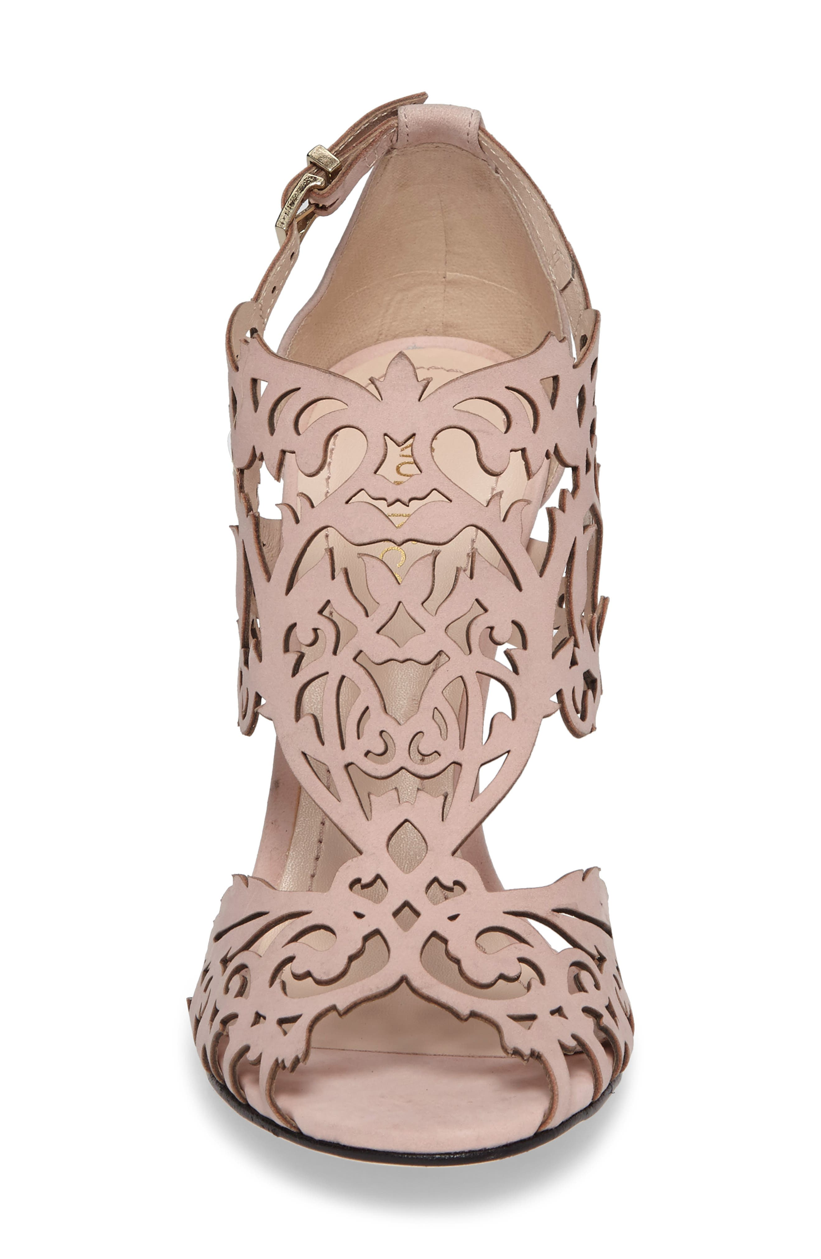 Marcela Laser Cutout Sandal,                             Alternate thumbnail 4, color,                             Blush Nubuck Leather