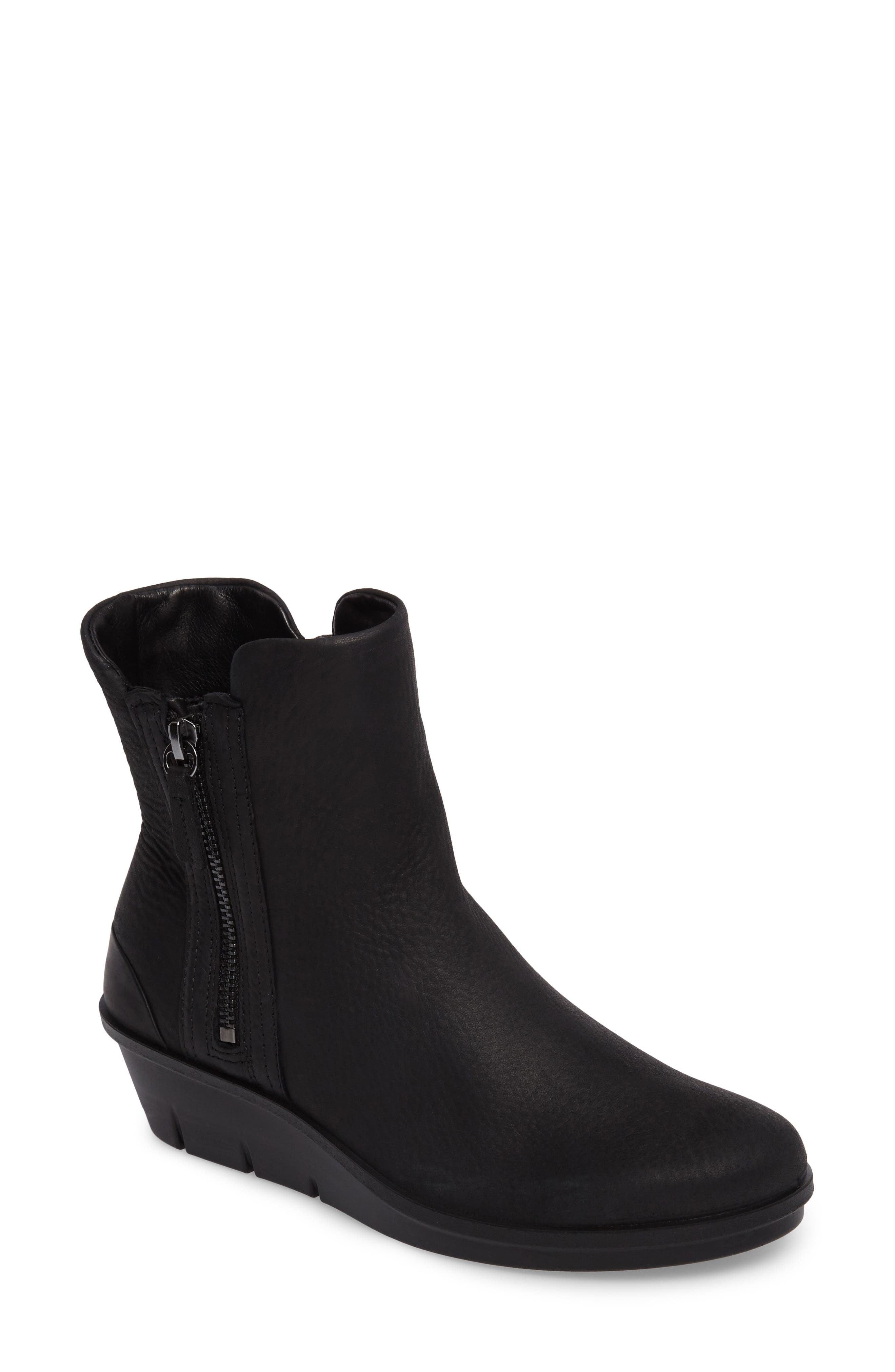 Skyler Notched Wedge Bootie,                             Main thumbnail 1, color,                             Black Leather