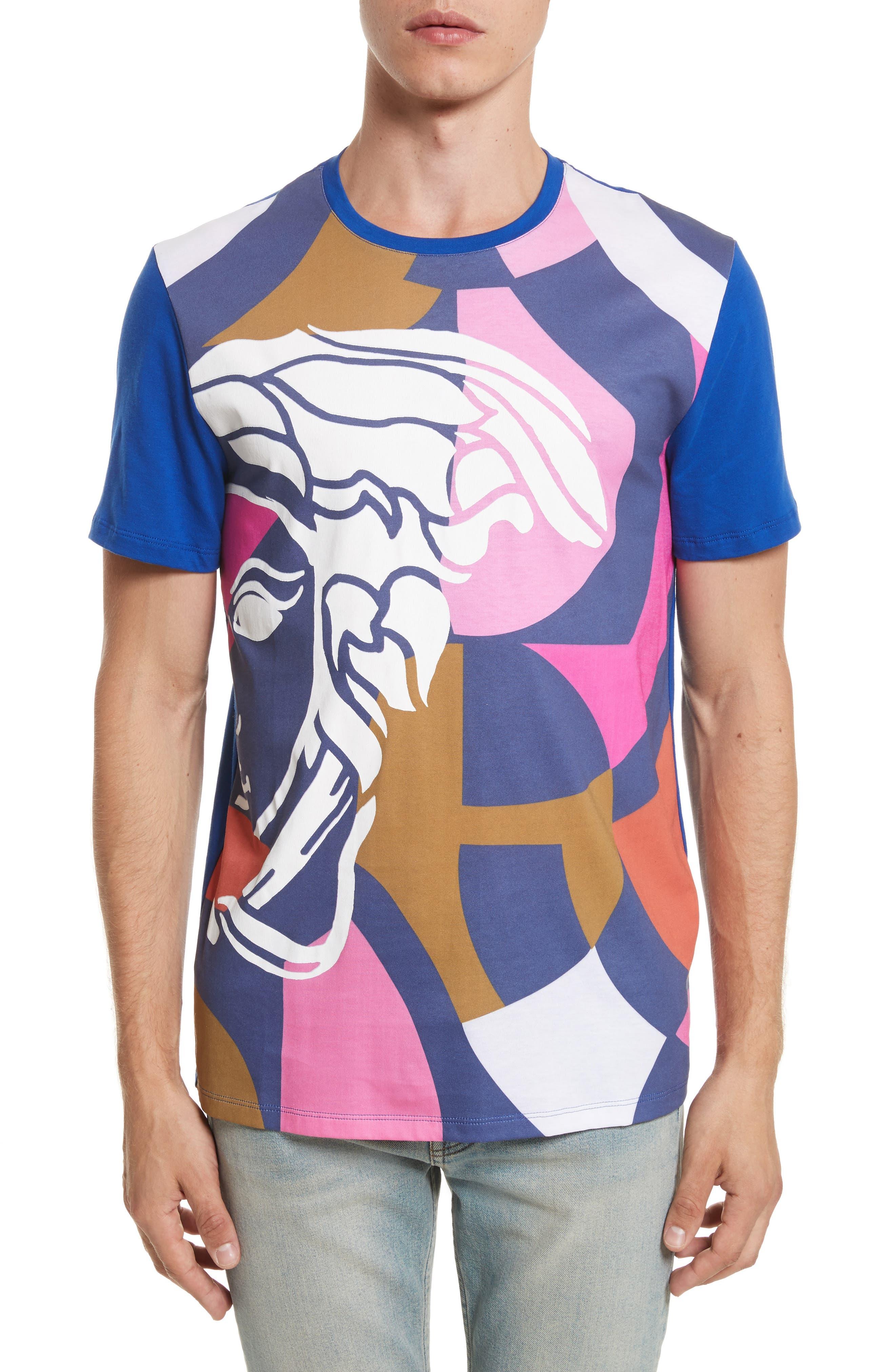 Abstract Medusa Print T-Shirt,                             Main thumbnail 1, color,                             Royal Blue
