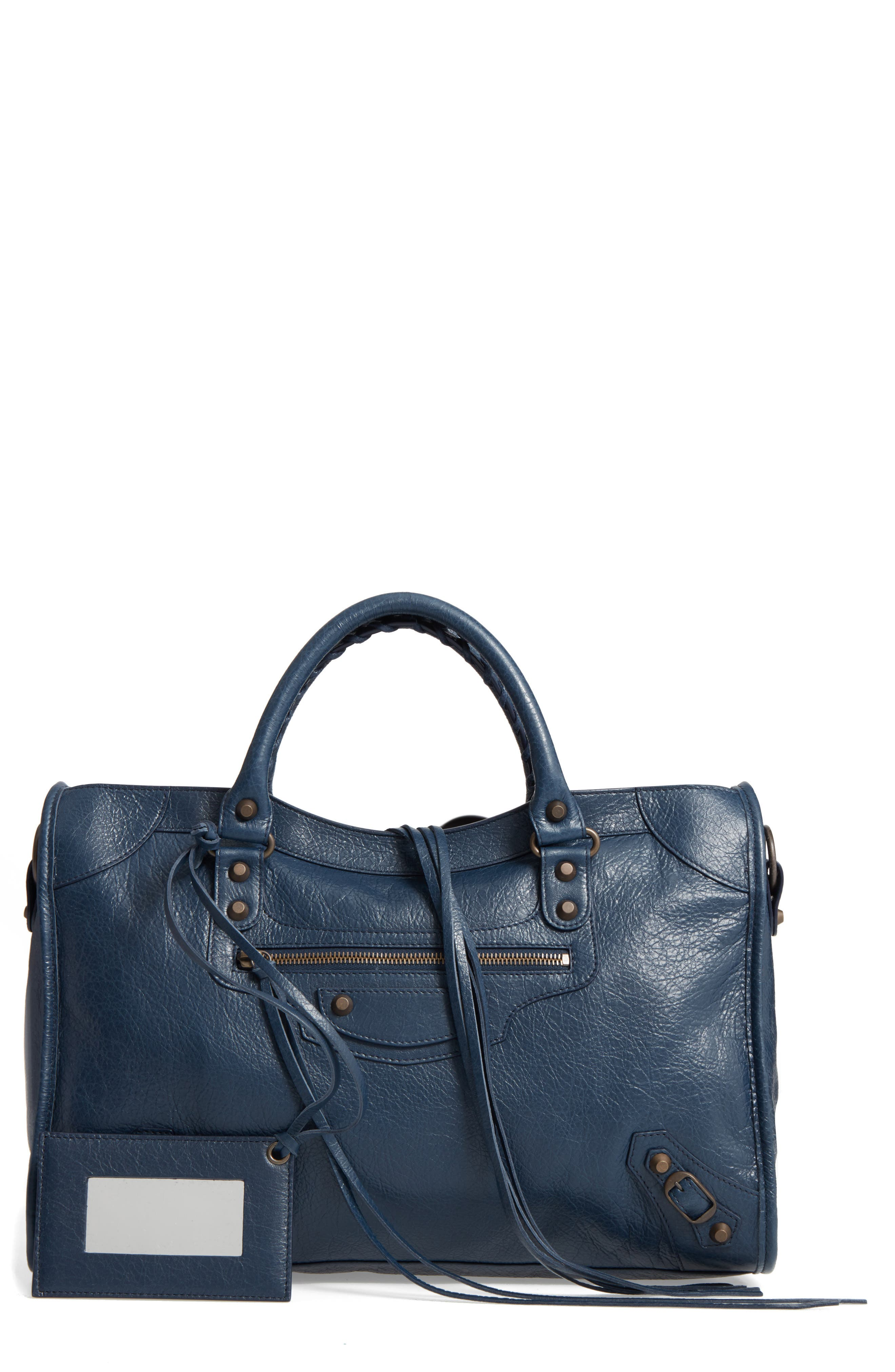 CLASSIC CITY LEATHER TOTE - BLUE